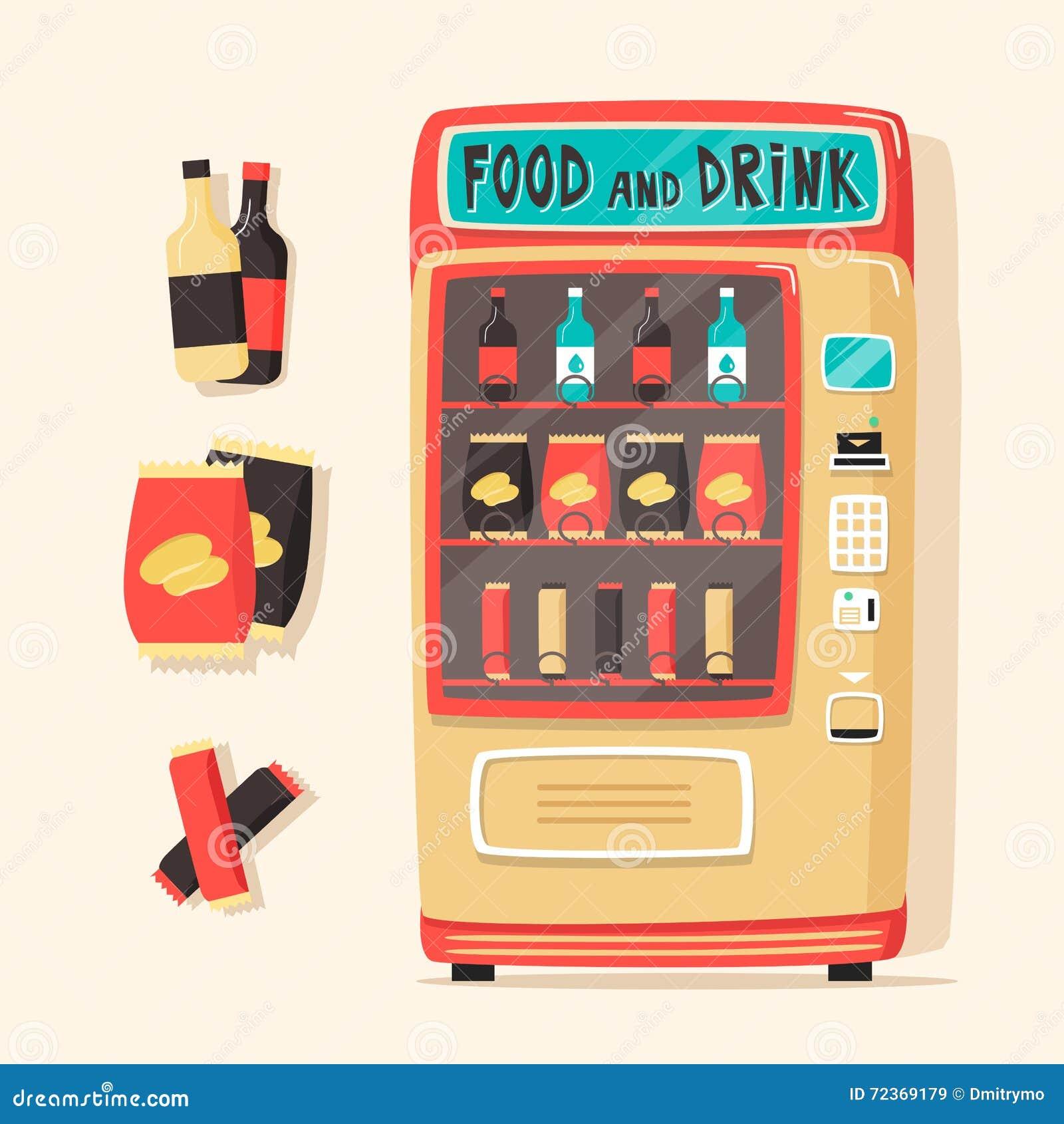 葡萄酒自动售货机用食物和饮料 减速火箭的样式