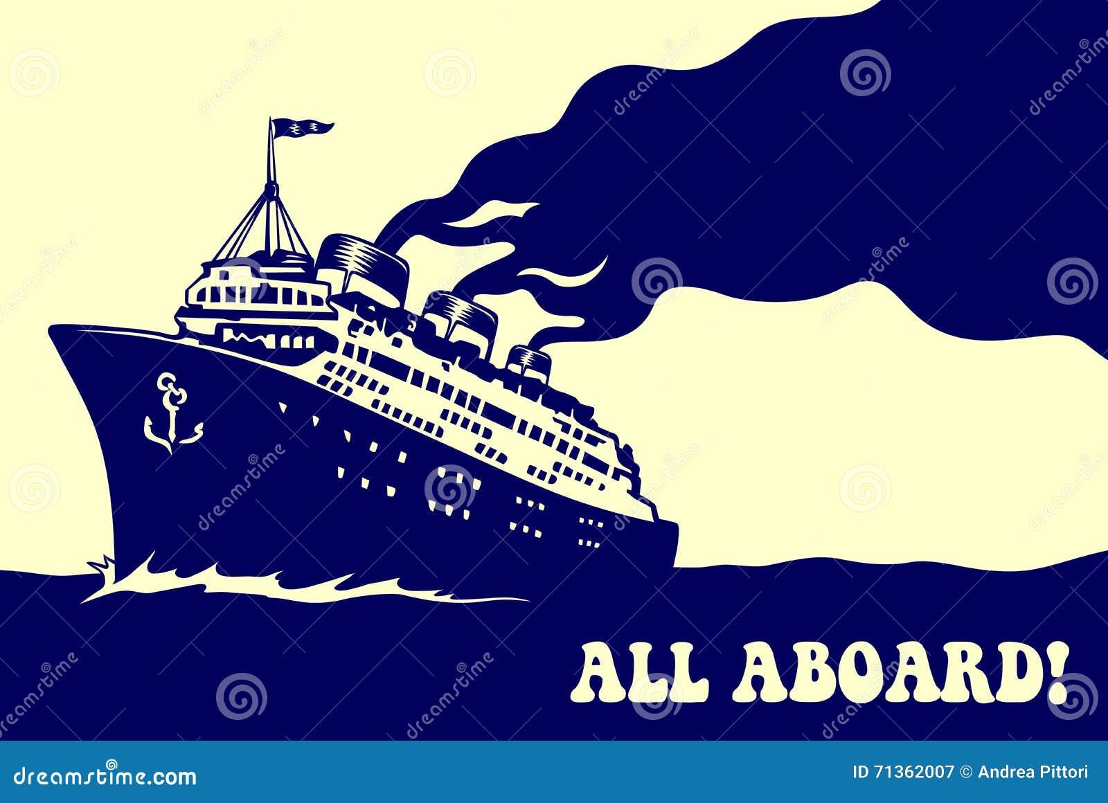 葡萄酒蒸汽海洋游轮减速火箭的旅行海报例证