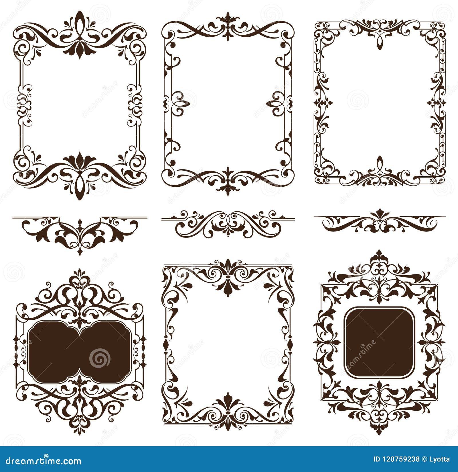 葡萄酒装饰品设计元素花卉curlicues白色背景遏制框架角落贴纸