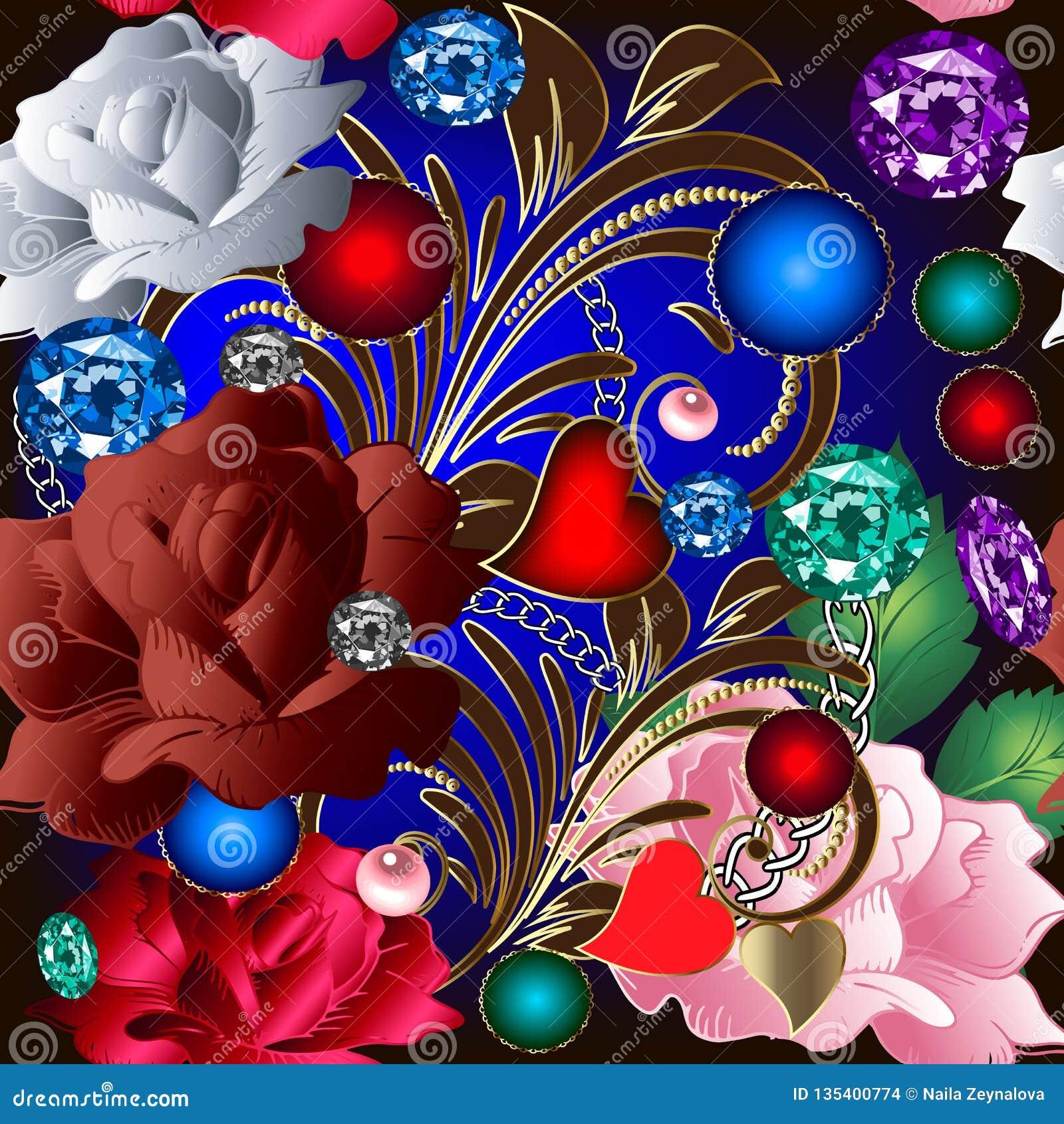 葡萄酒首饰3d无缝的样式 华丽开花玫瑰花 五颜六色的传染媒介花卉首饰背景 装饰豪华