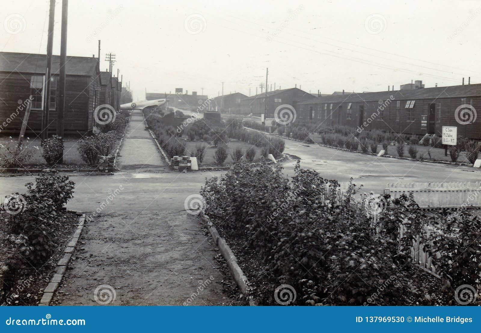 葡萄酒黑白照片皇家空军Hednesford,斯塔福德,英国20世纪50年代入口