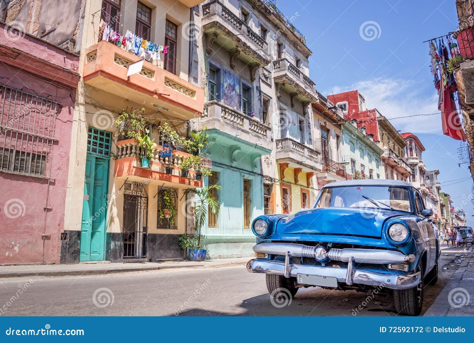 葡萄酒经典美国汽车在哈瓦那古巴