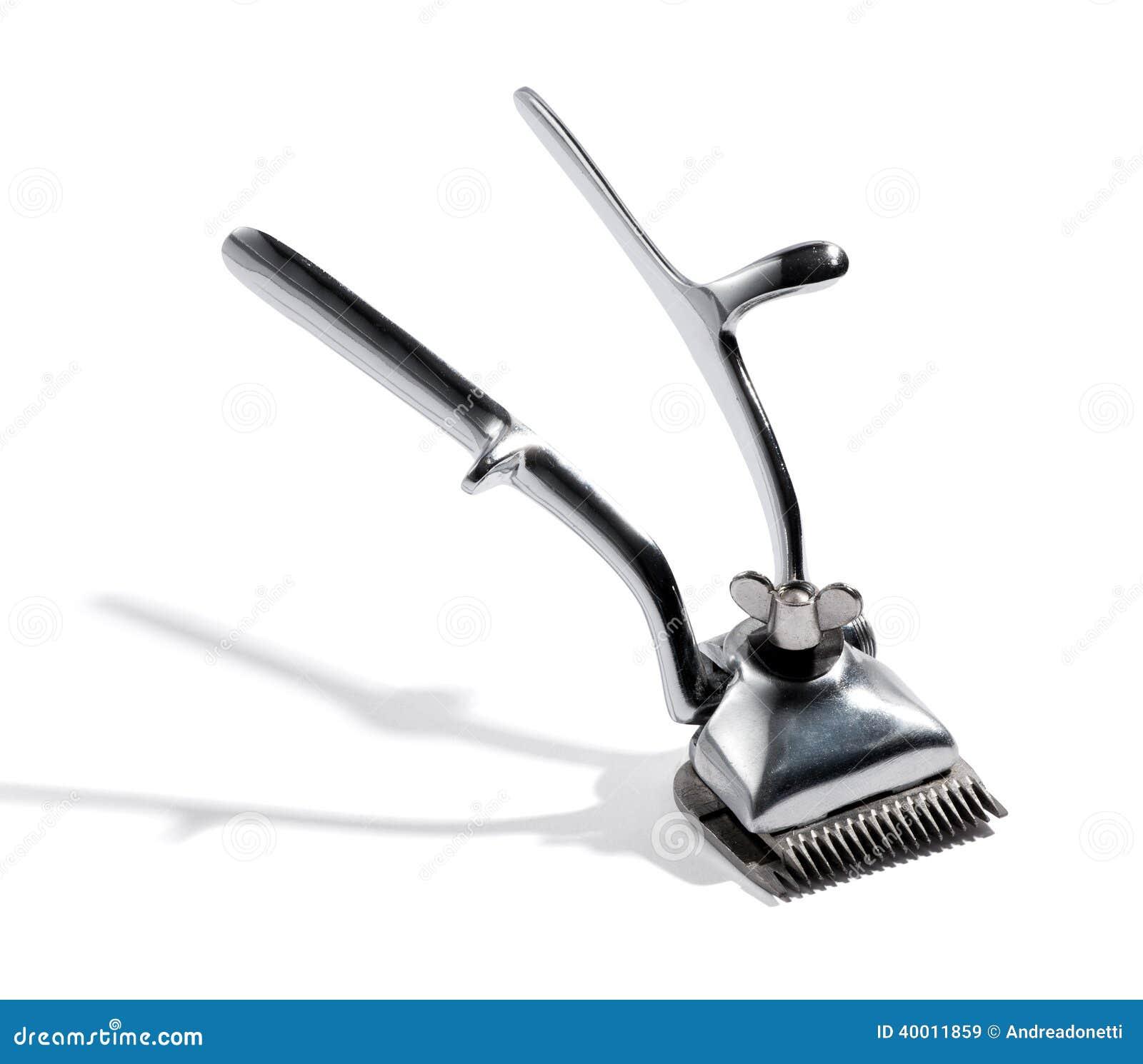 葡萄酒银色金属头发整理者或剃具在理发店使用整理头发或胡子在白色图片