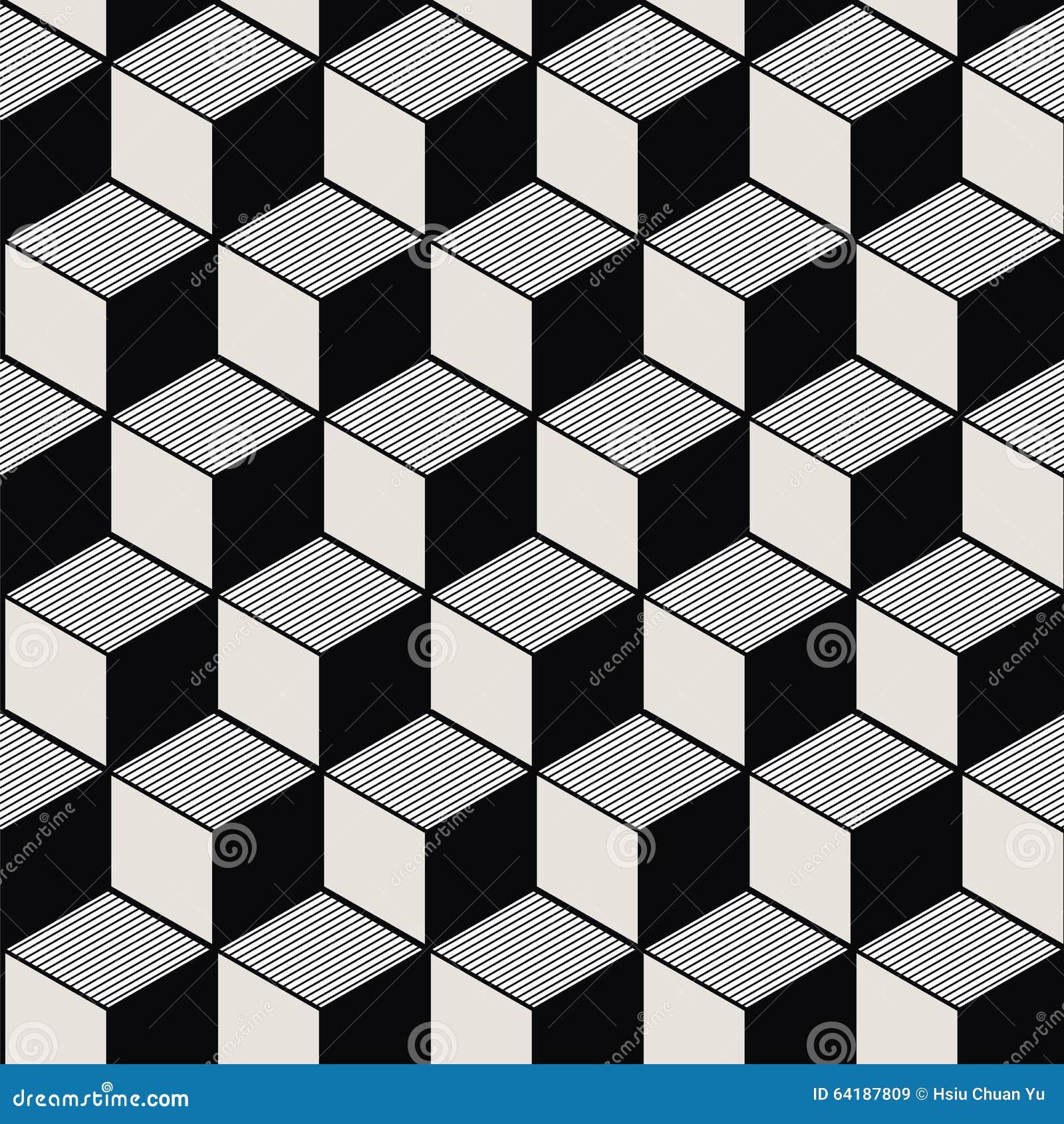 葡萄酒黑色白色立方体线几何样式的无缝的背景图象