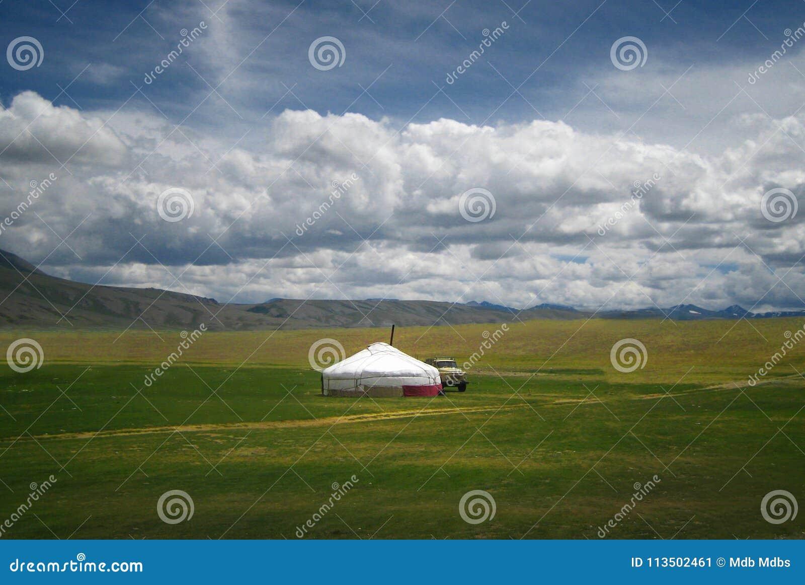 蒙古yurt,称ger,西北Mongoli风景的