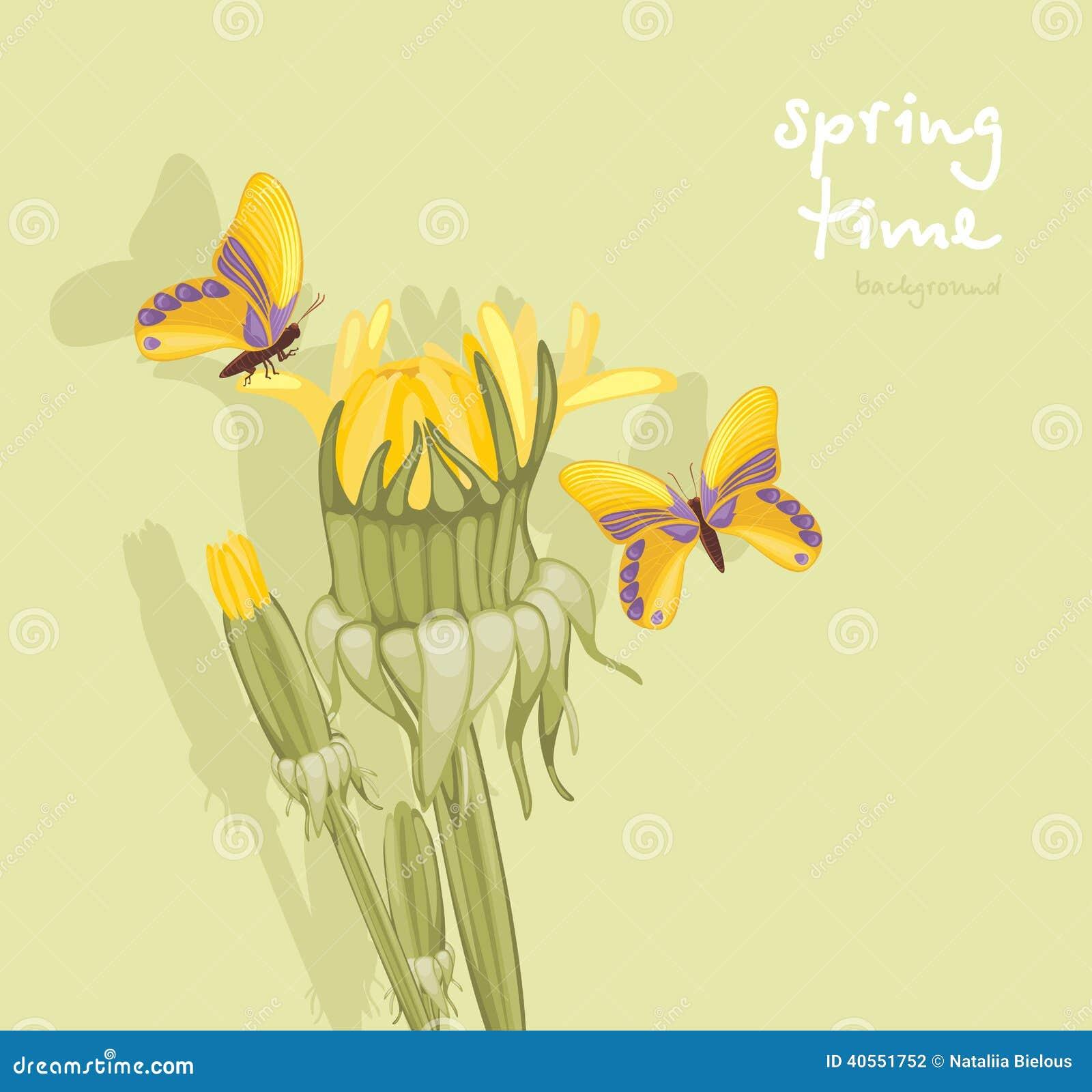 蒲公英和蝴蝶 春天背景 例证.