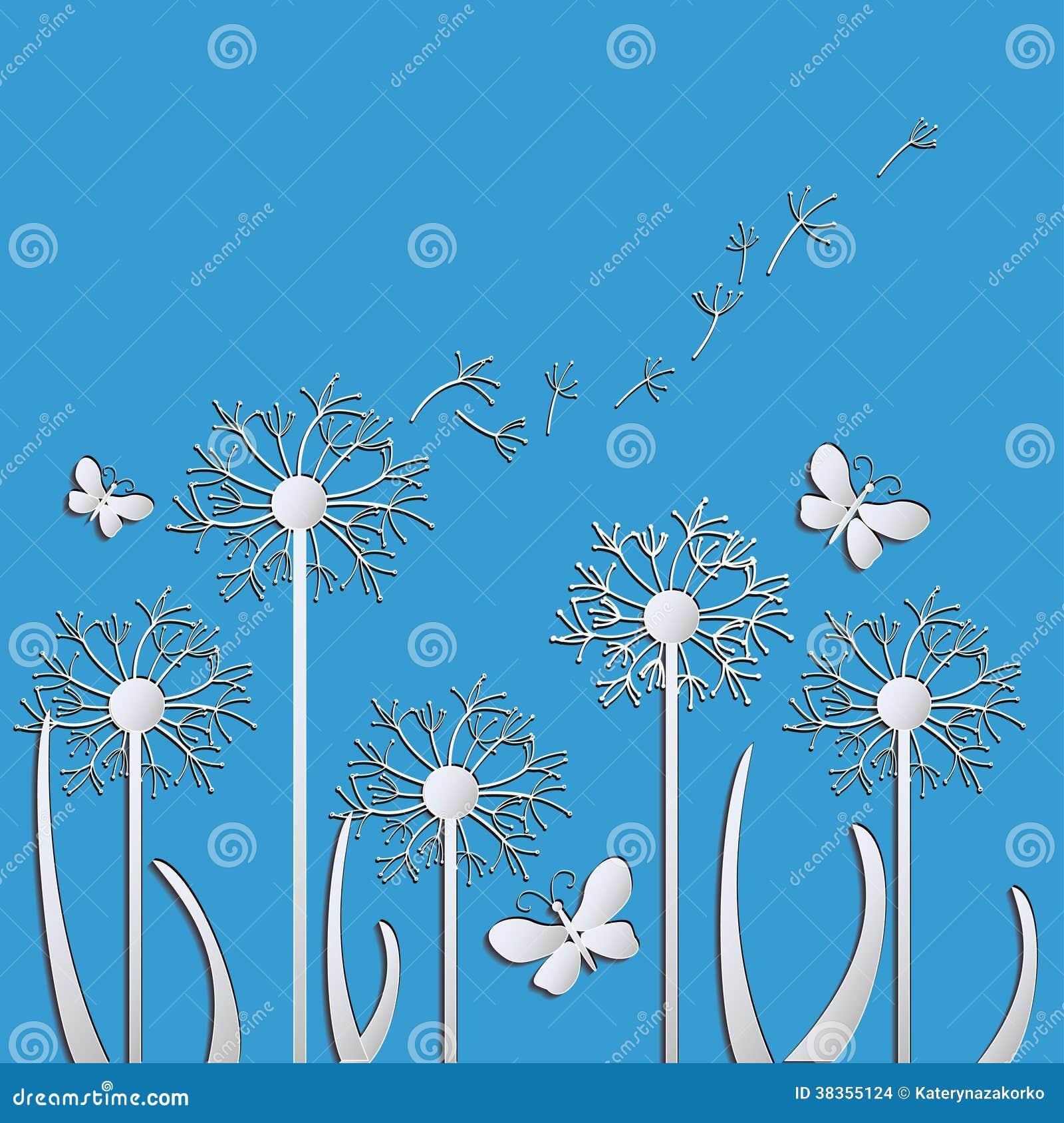 导航蒲公英和蝴蝶的例证在蓝色背景.