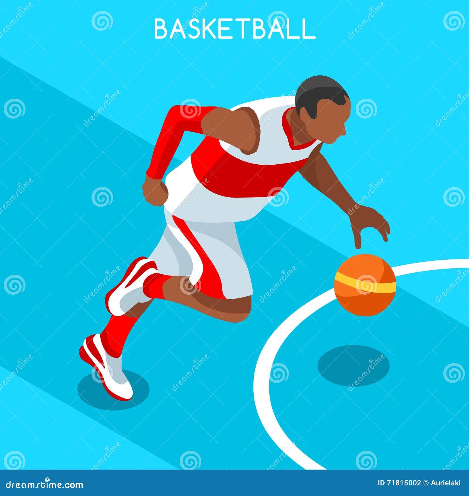 蓝球运动员运动员夏天比赛象集合 3D等量黑人蓝球运动员运动员