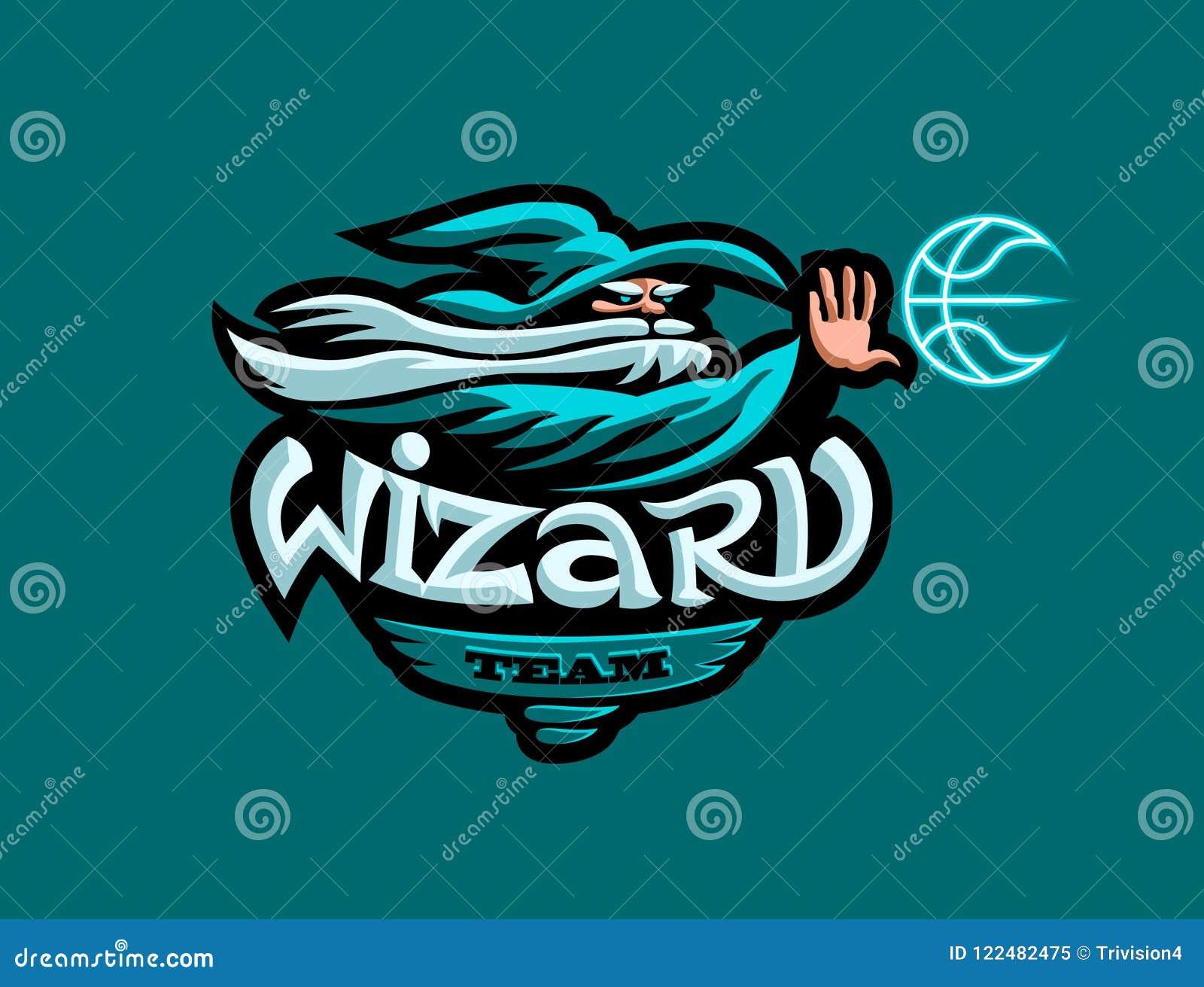 蓝球队的吉祥人 帽子的一位巫术师投掷篮球