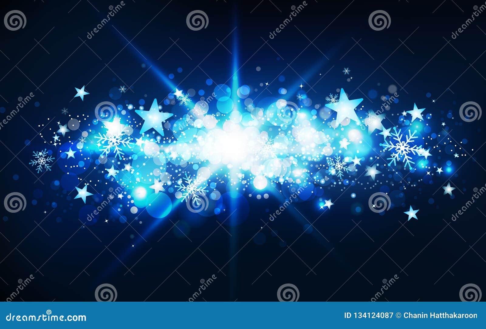 蓝色不可思议的幻想星爆炸、流星冬天季节、五彩纸屑、雪花和尘土发光的微粒弄脏群消散