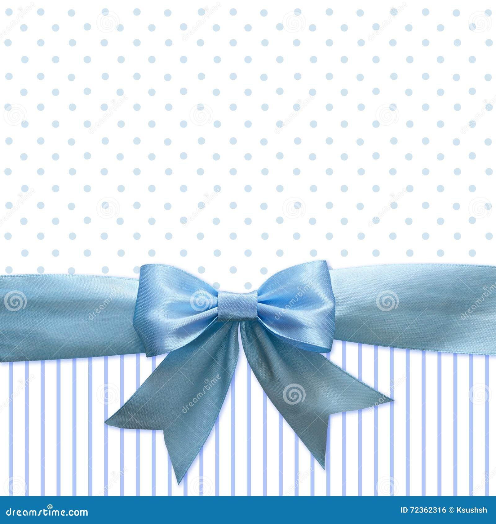 蓝色丝绸丝带和弓背景的
