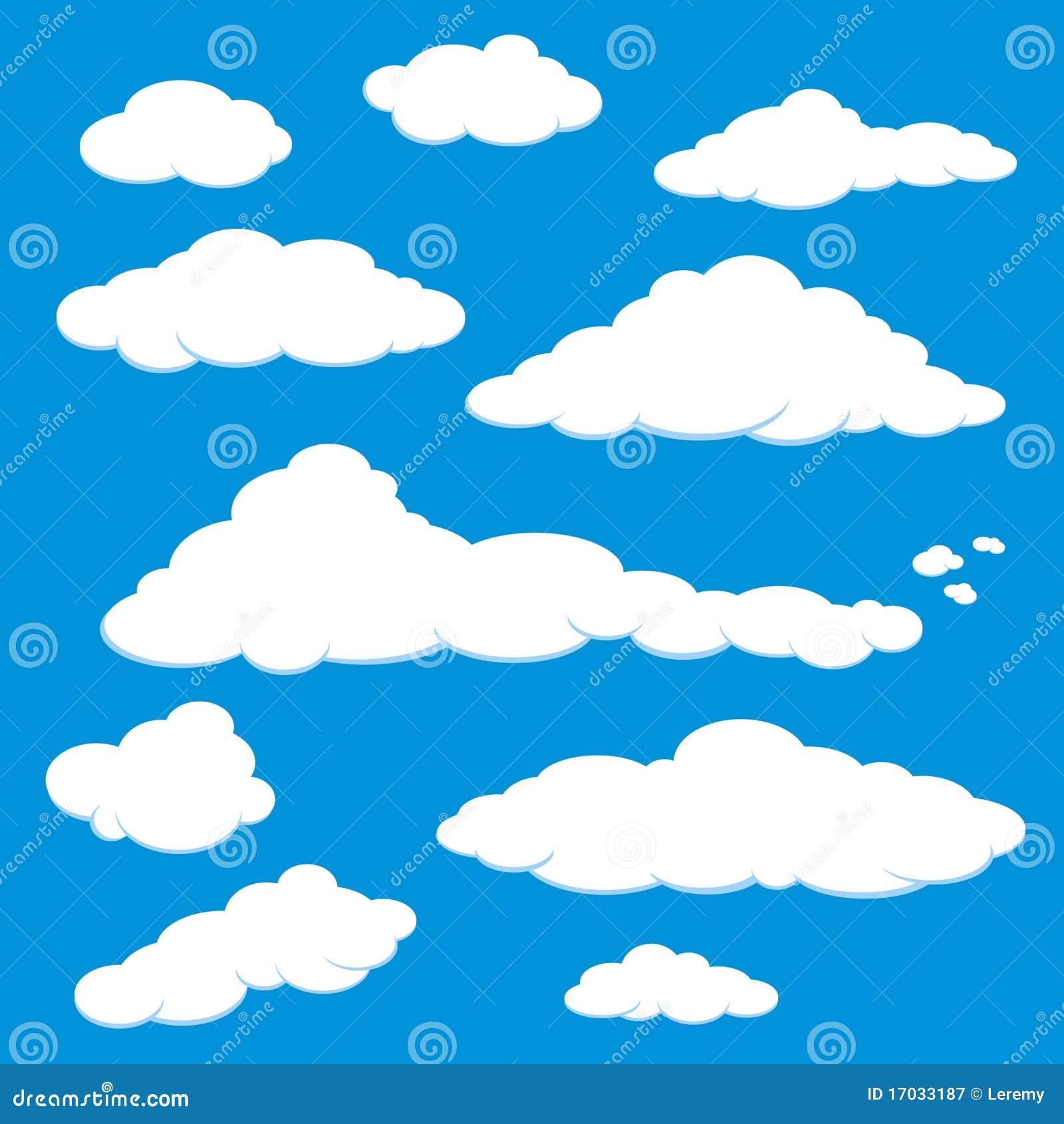 蓝色云彩天空向量