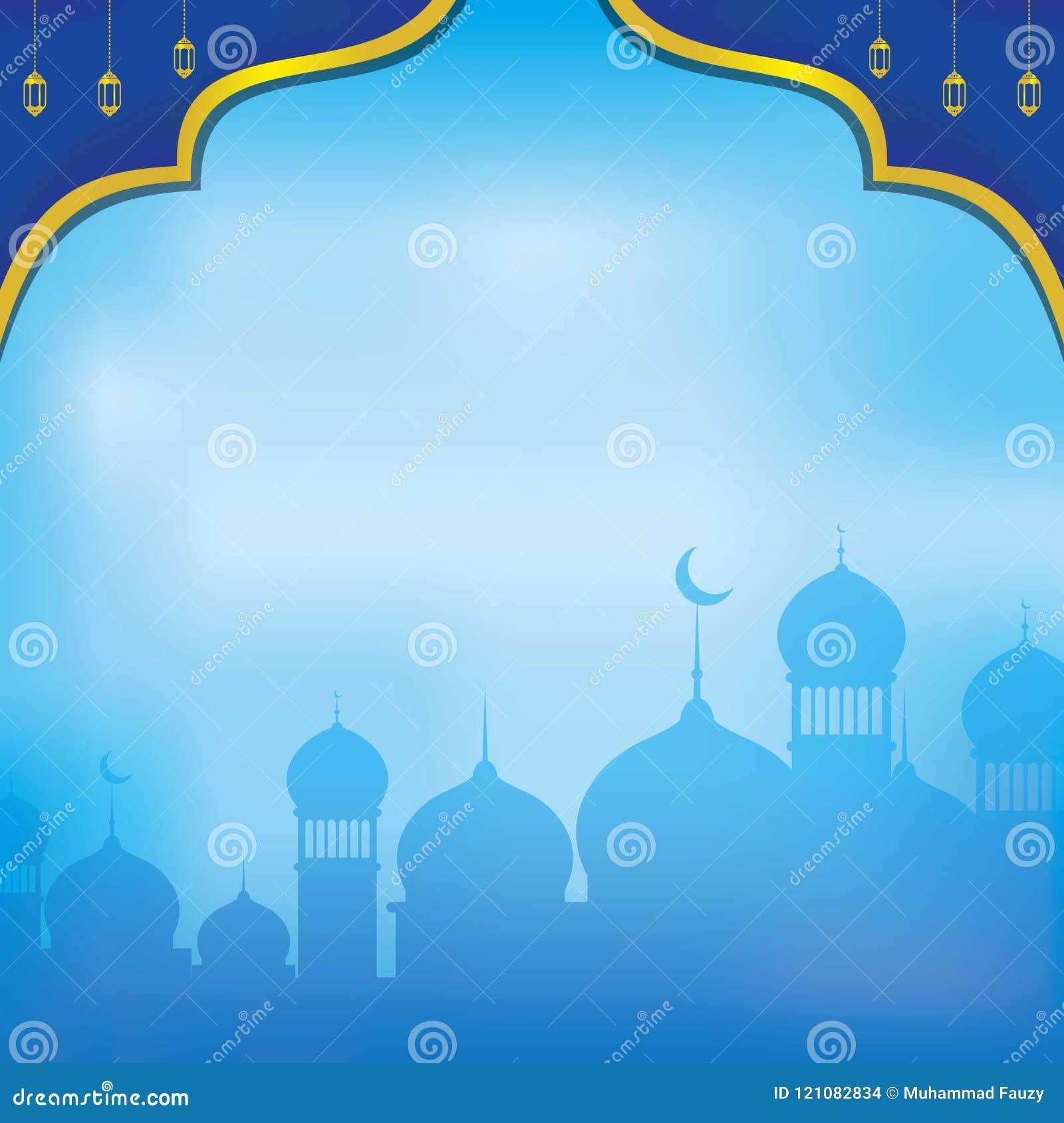 蓝色伊斯兰教的Backgound 与装饰品的蓝色伊斯兰教的墙纸