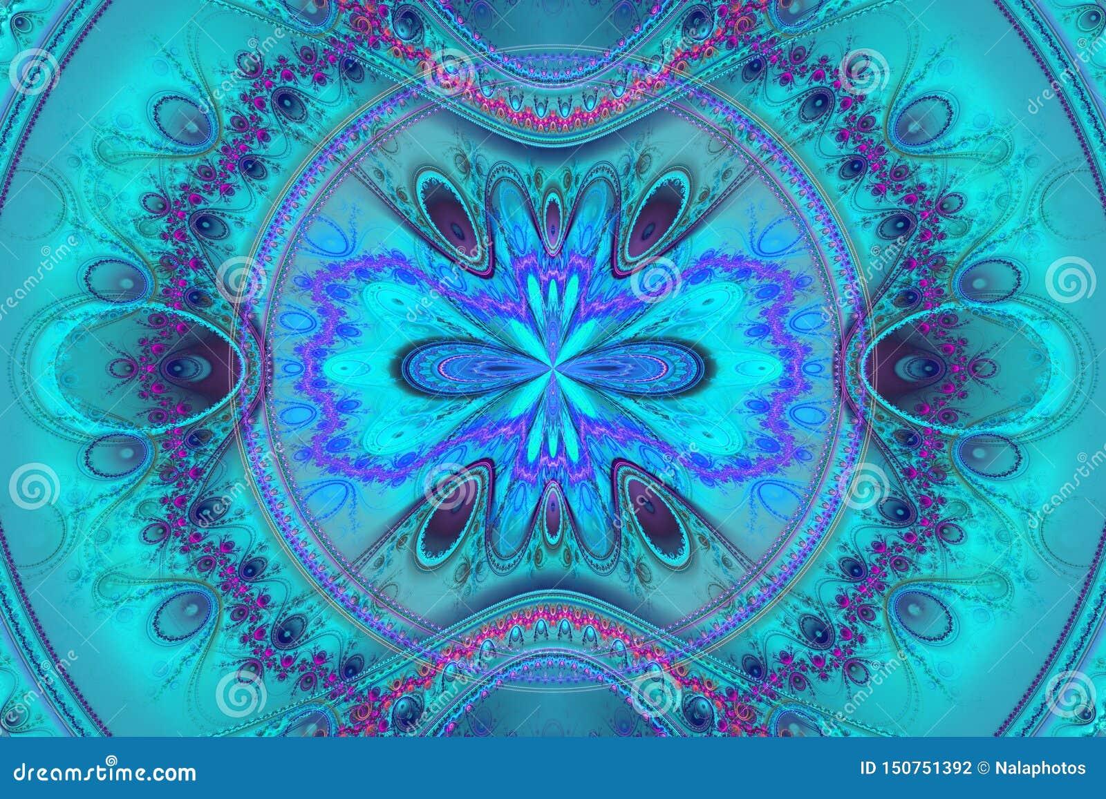 蓝色例证分数维背景几何形状书套magick爆炸作白日梦的音乐飞行物或其他概念