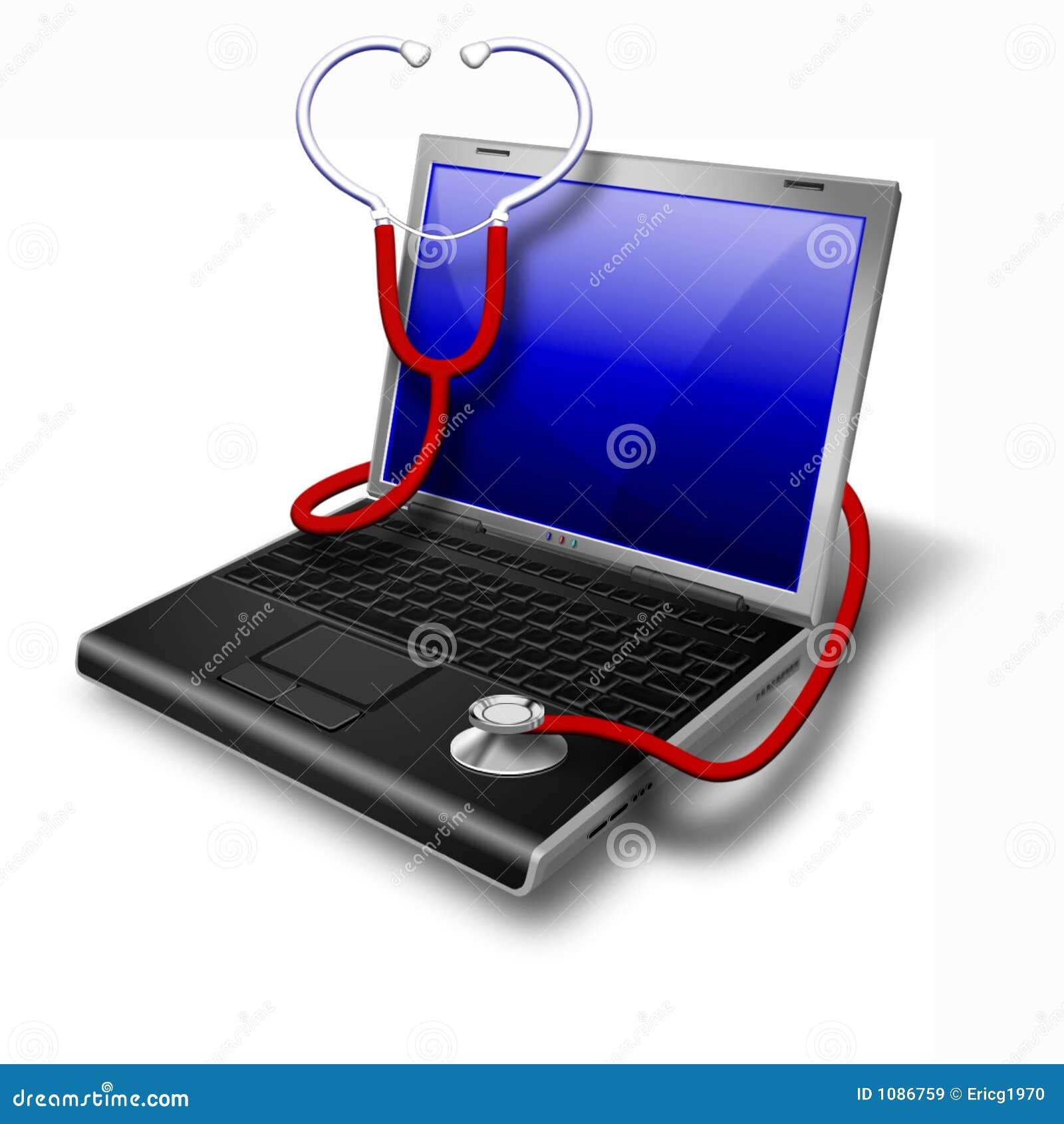蓝色健康膝上型计算机笔记本
