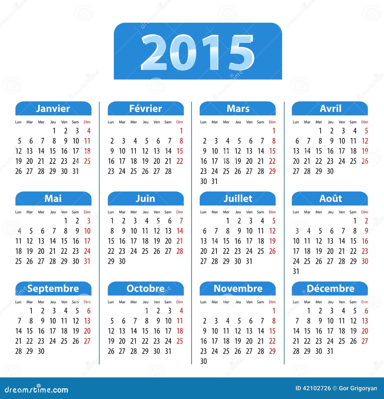 蓝色光滑的日历在2015年用法语