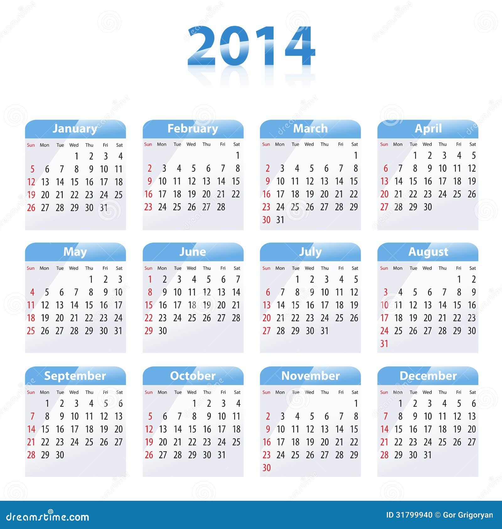 蓝色光滑的日历在2014年