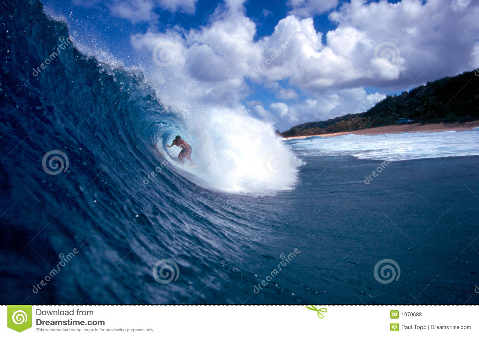 蓝色冲浪者冲浪的管通知