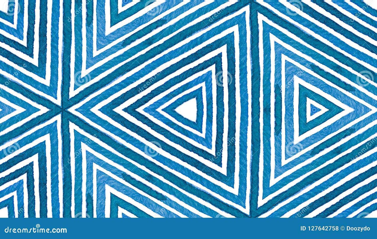 蓝色几何水彩 无缝逗人喜爱的模式 手拉的条纹 刷子纹理 洁净的Chev
