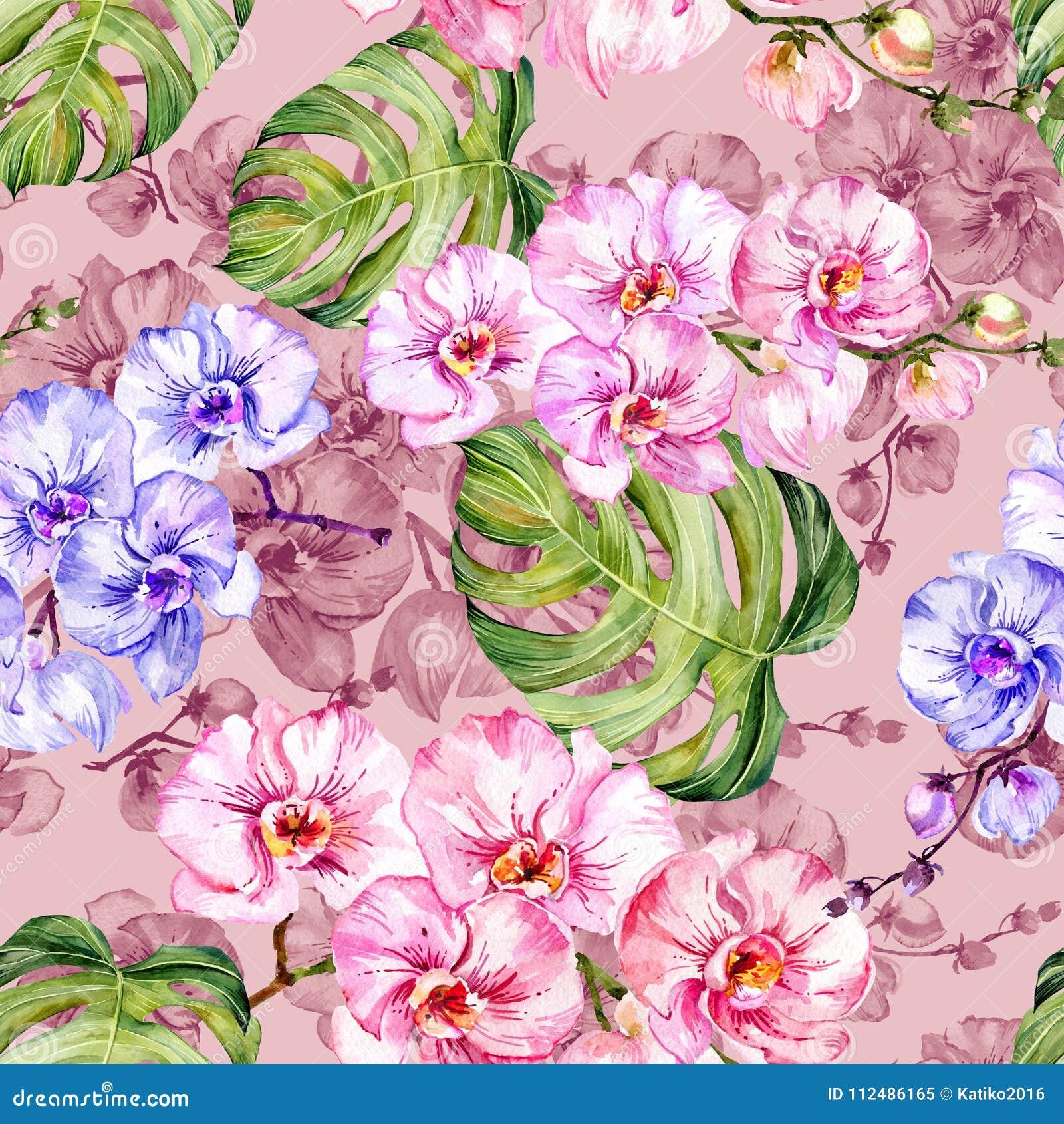 蓝色和桃红色兰花开花,并且monstera离开 无缝花卉的模式 多孔黏土更正高绘画photoshop非常质量扫描水彩 象查找的画笔活性炭被画的现有量例证以图例解释者做柔和的淡色彩对传统