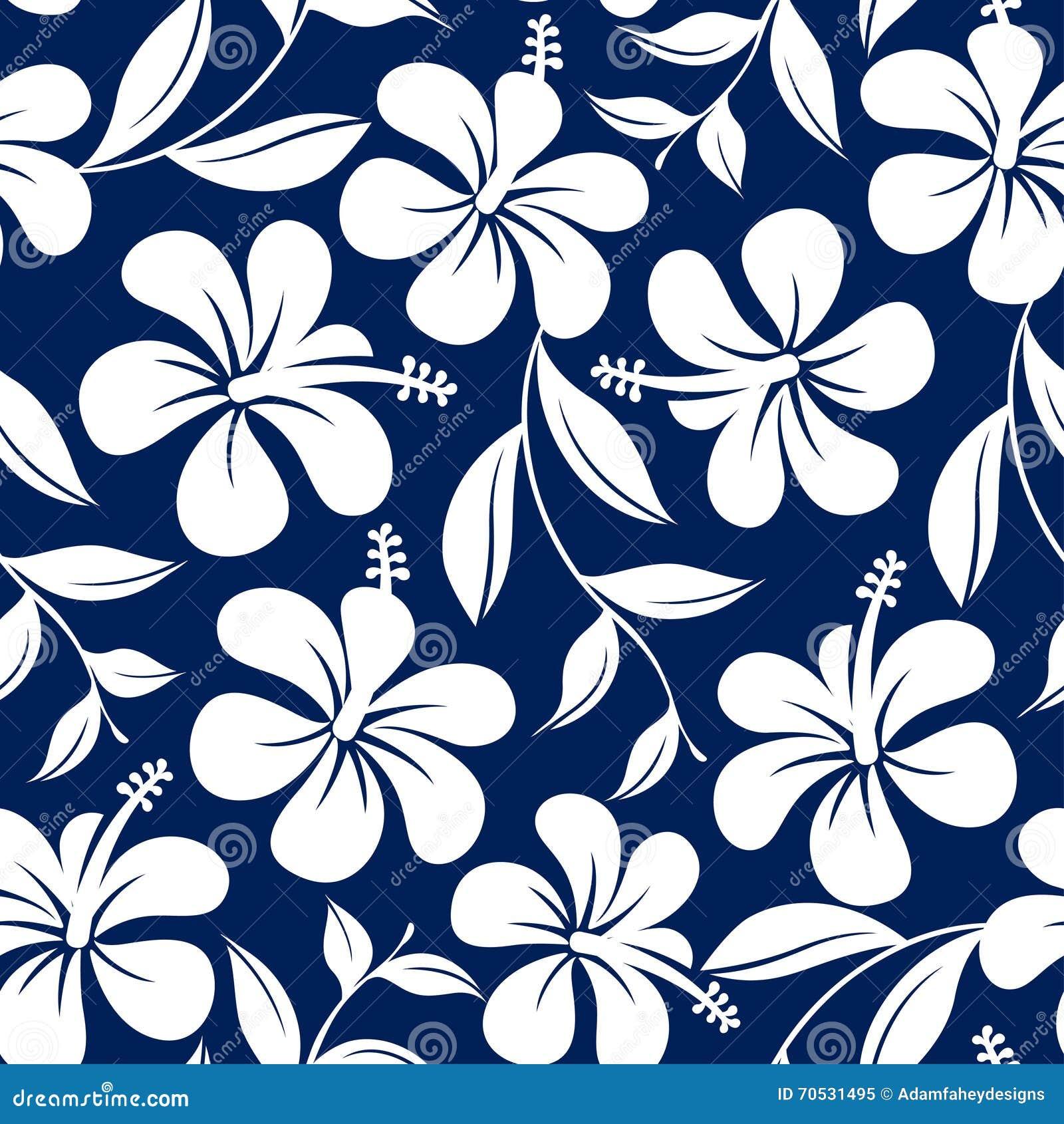 蓝色和白色热带木槿花和叶子无缝的轻拍