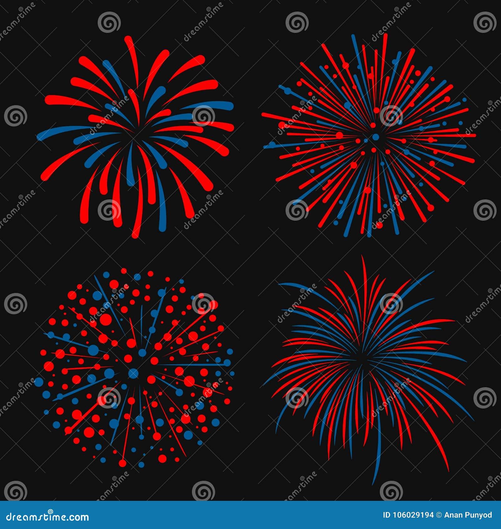 蓝色和红色抽象烟花4样式传染媒介设计