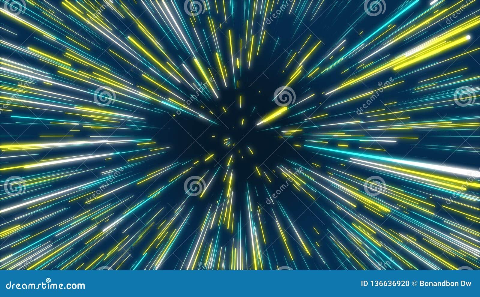 蓝色和黄色摘要隧道辐形线作用背景