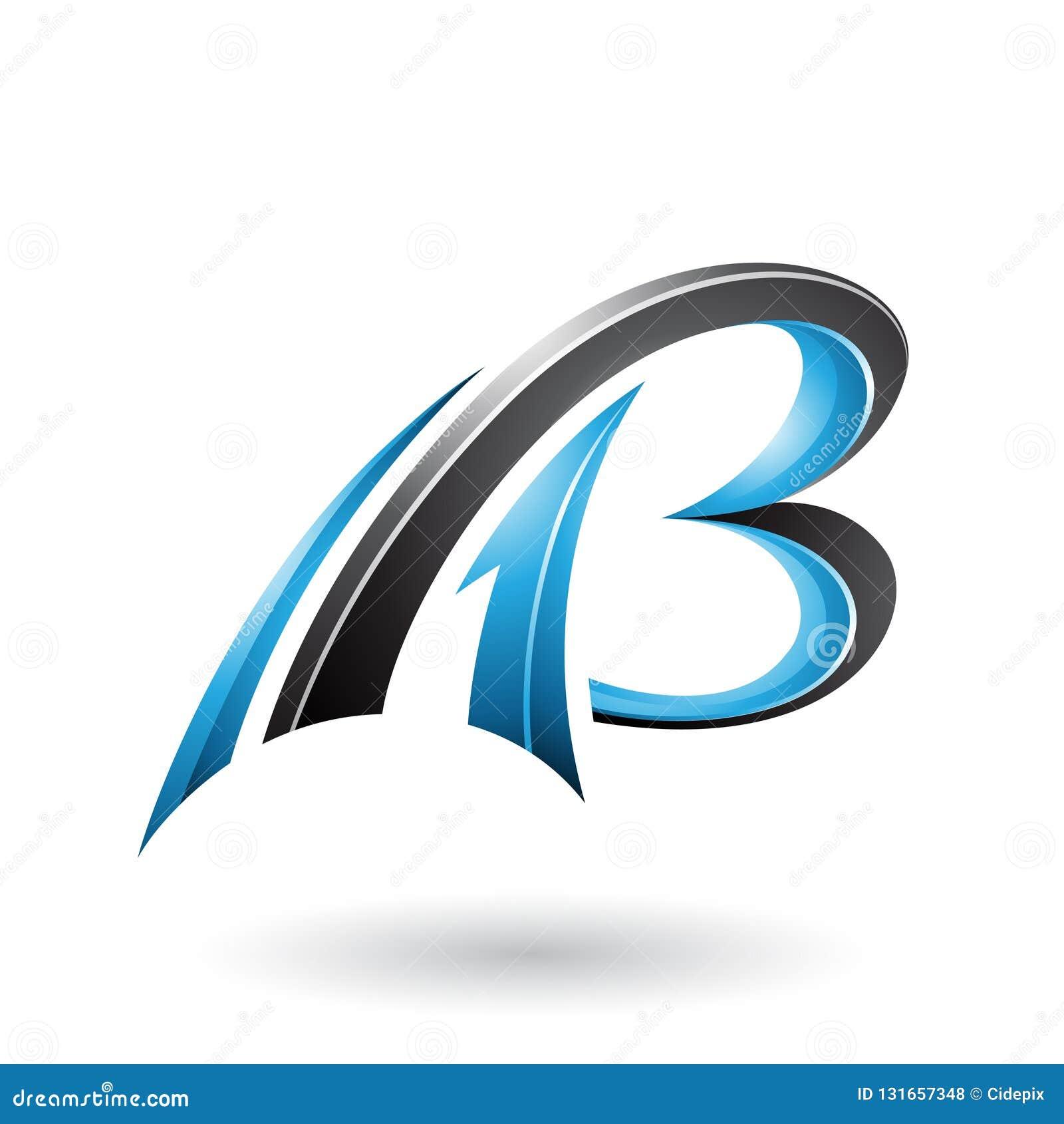 蓝色和黑飞行的动态3d信件在白色背景和B隔绝的A
