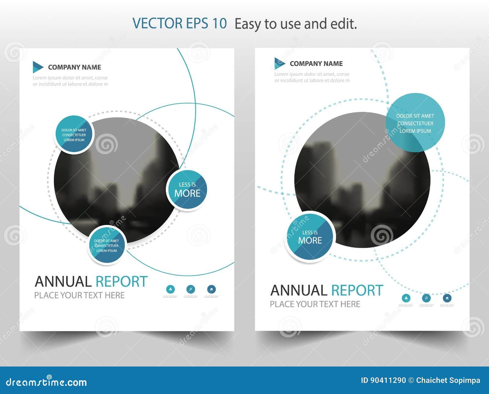 蓝色圈子年终报告小册子设计模板传染媒介 企业飞行物infographic杂志海报 抽象布局模板,
