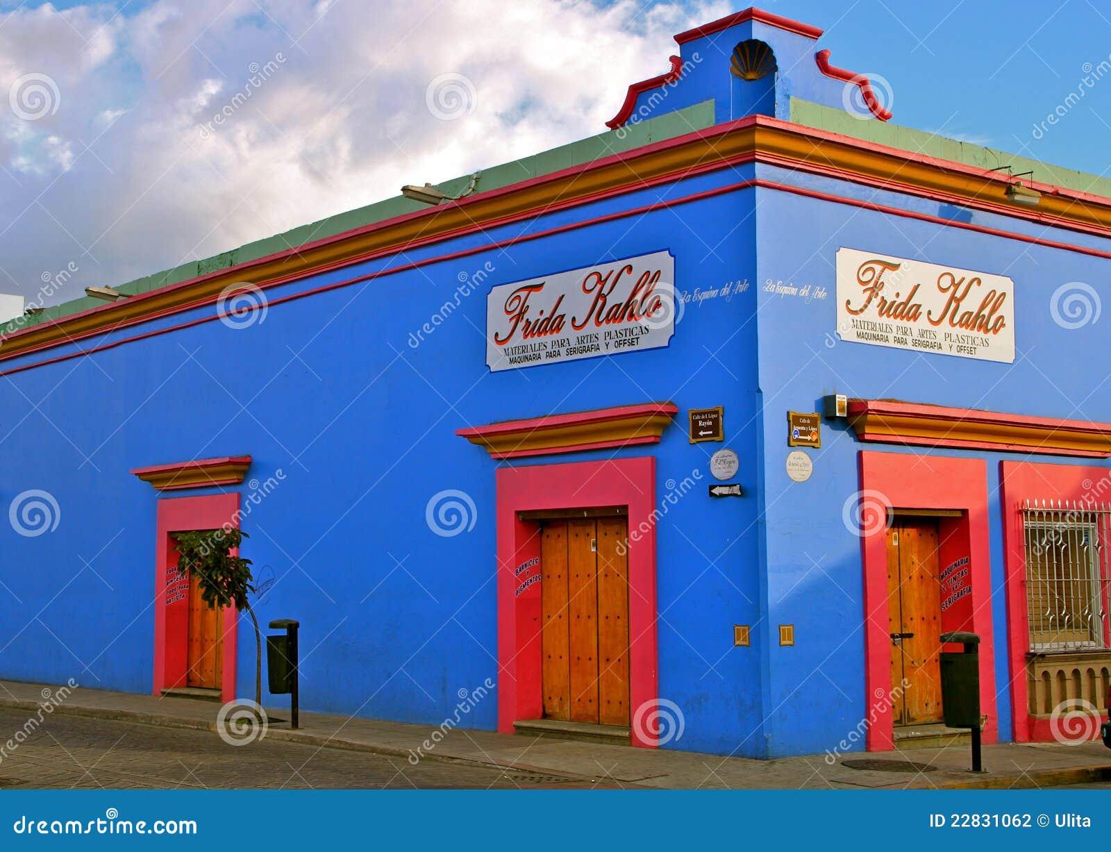 蓝色壁角墨西哥oaxaca街道