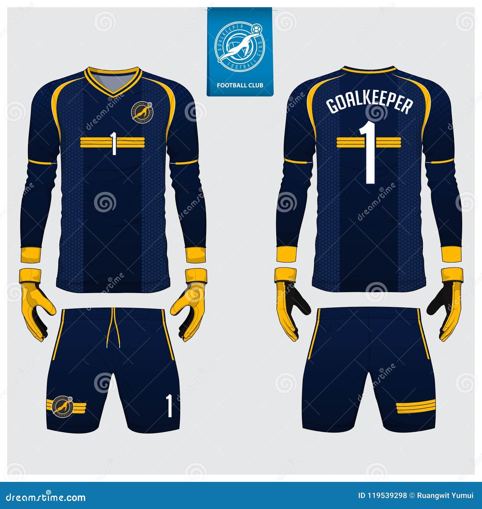 蓝色守门员球衣或足球成套工具,长的袖子球衣,守门员手套模板设计 前面和后面看法橄榄球制服