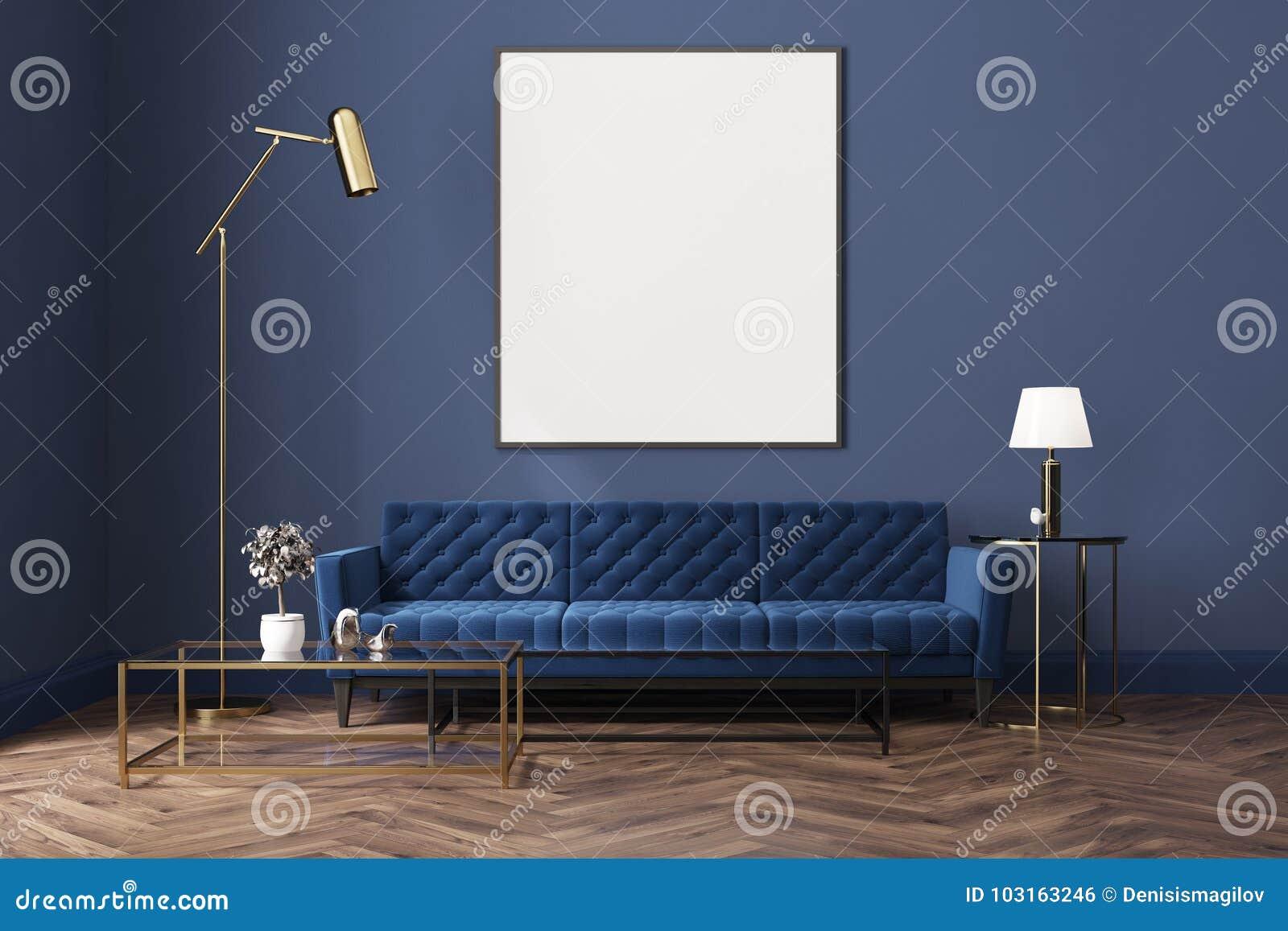 蓝色客厅,蓝色沙发,海报