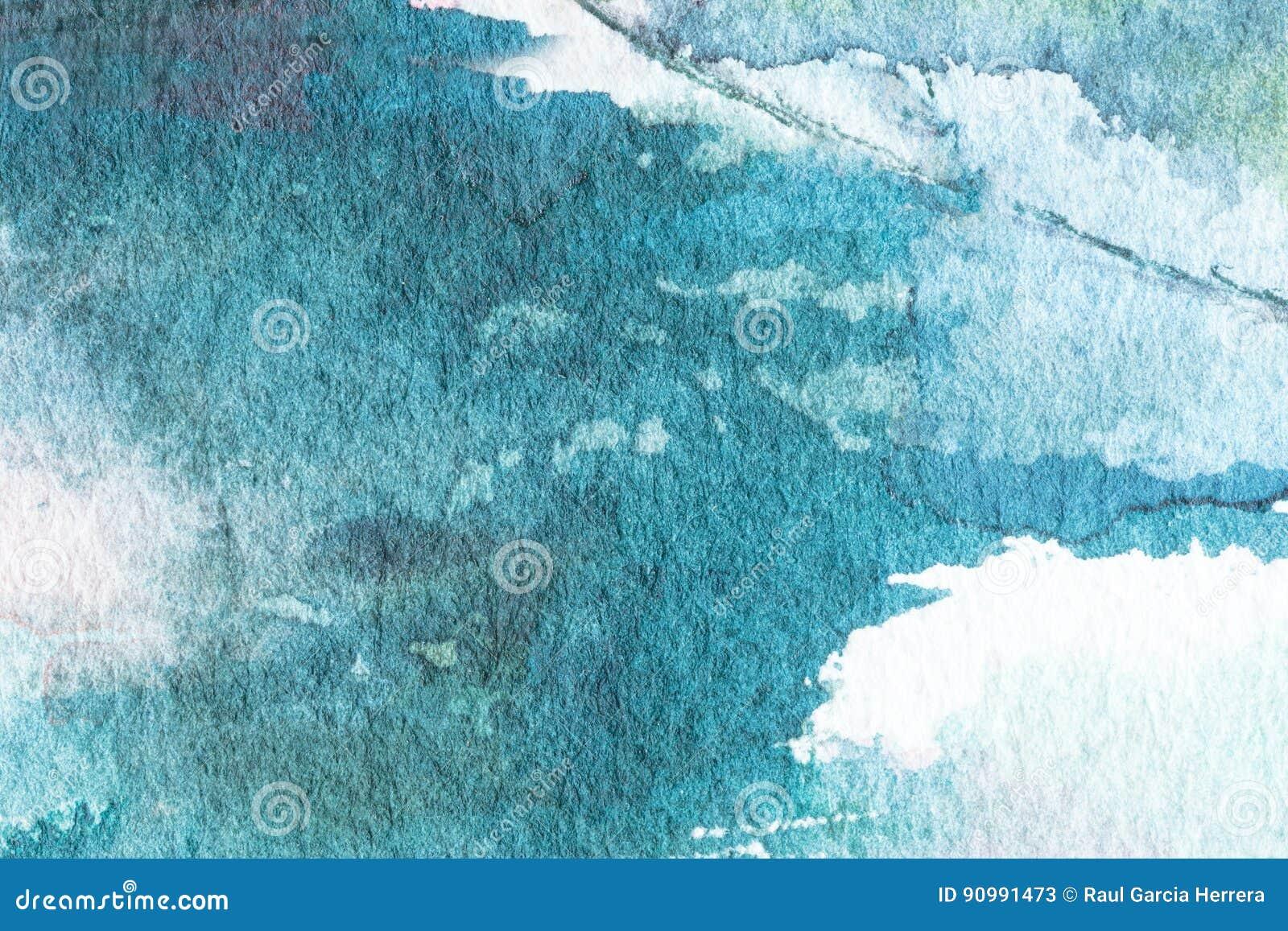 蓝色抽象水彩宏观纹理背景 手画水彩背景