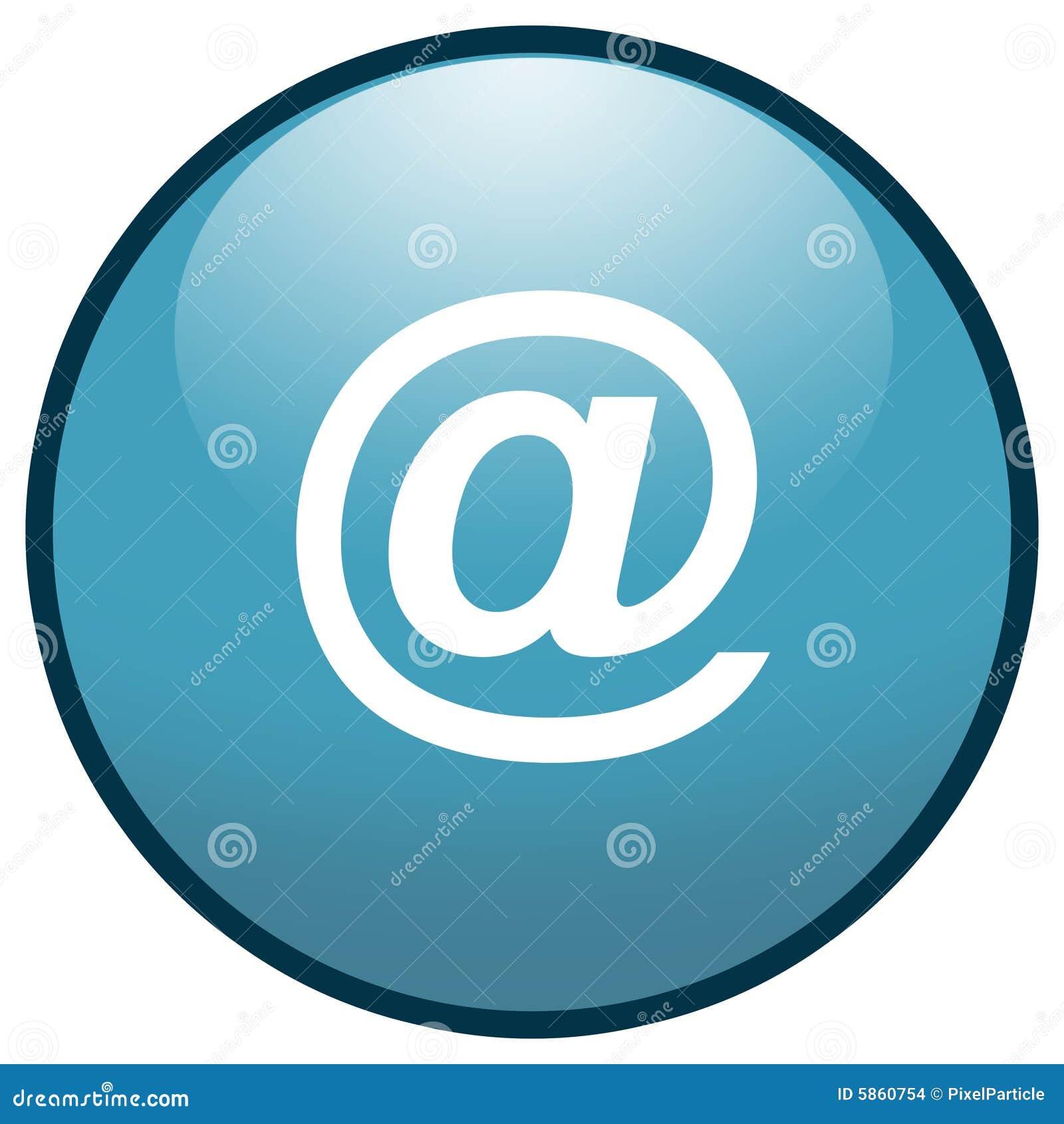 蓝色按钮e图标邮件符号