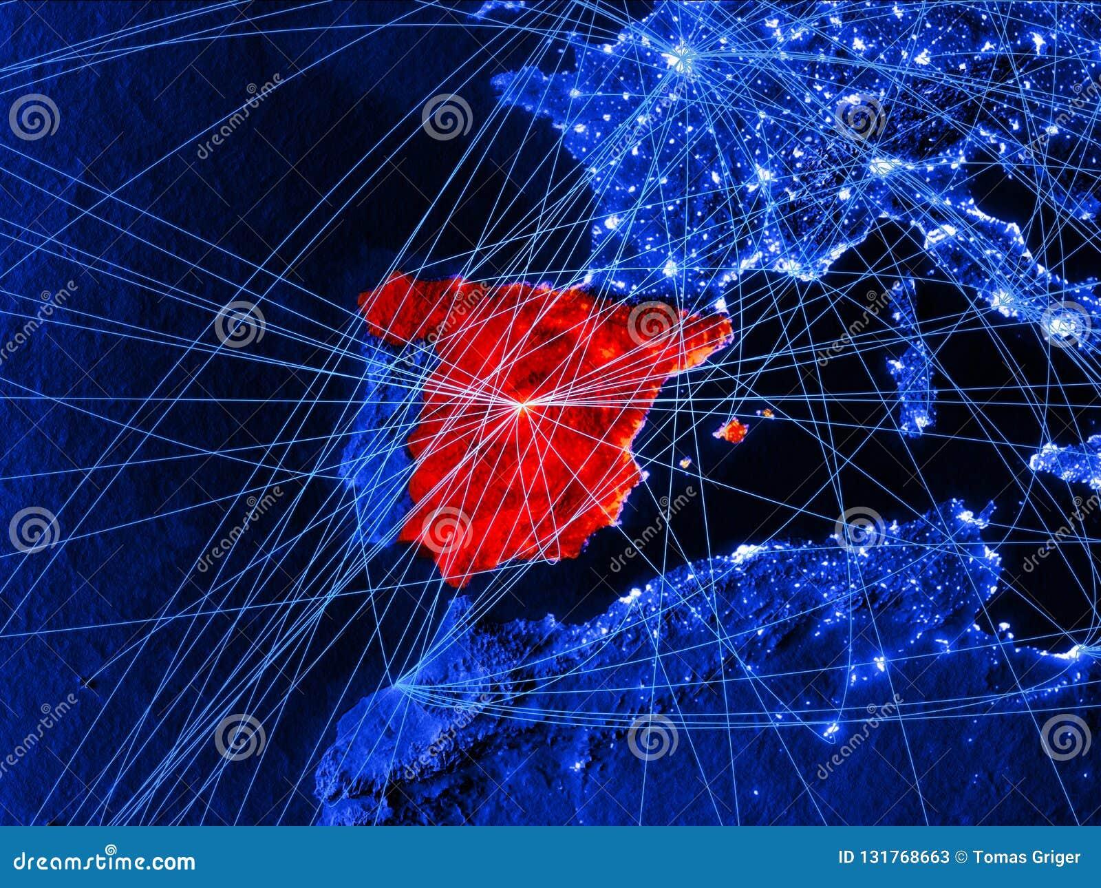 蓝色数字地图的西班牙与网络 国际旅行、通信和技术的概念 3d例证 要素