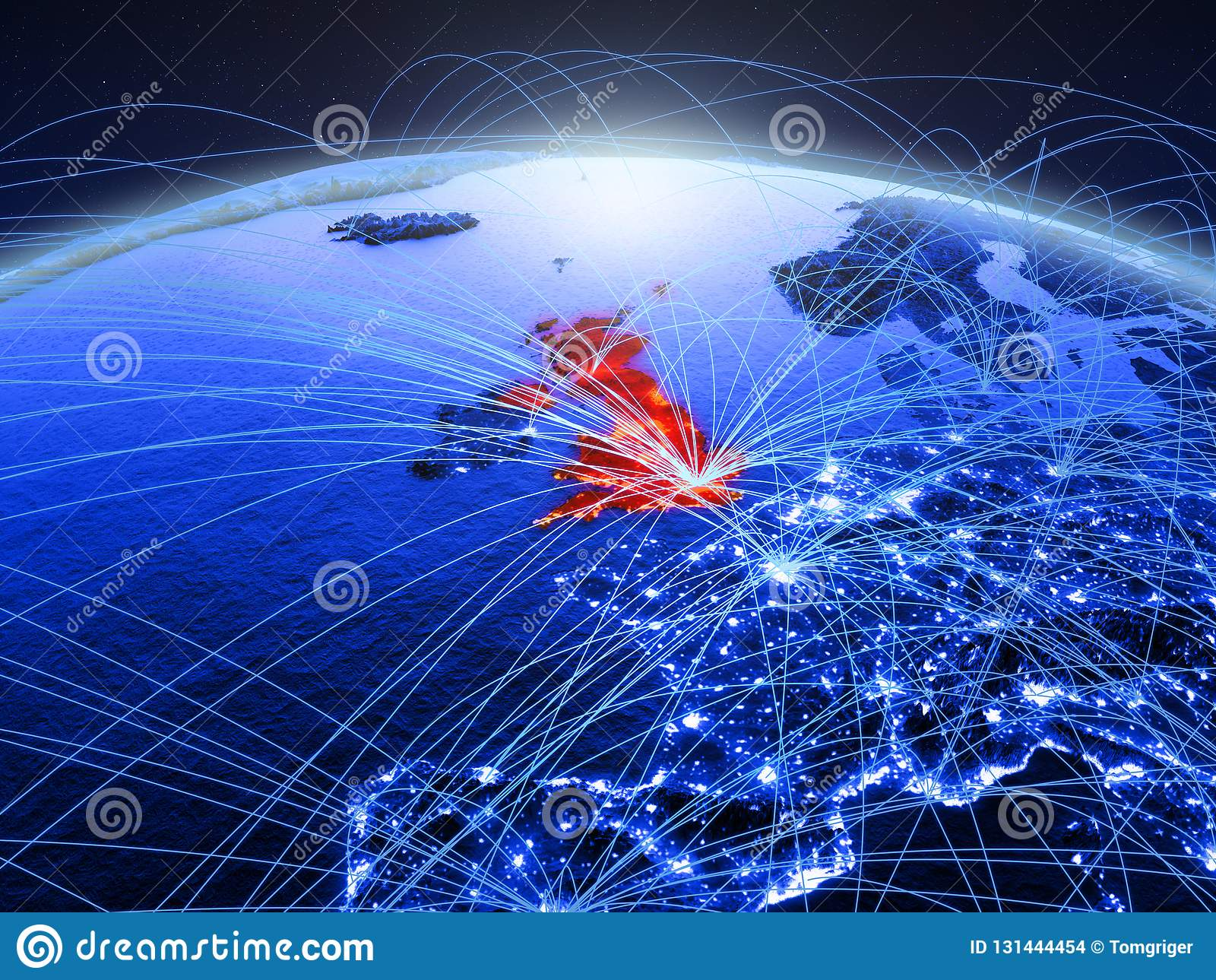 蓝色数字行星地球上的英国与代表通信、旅行和连接的国际网络 3d