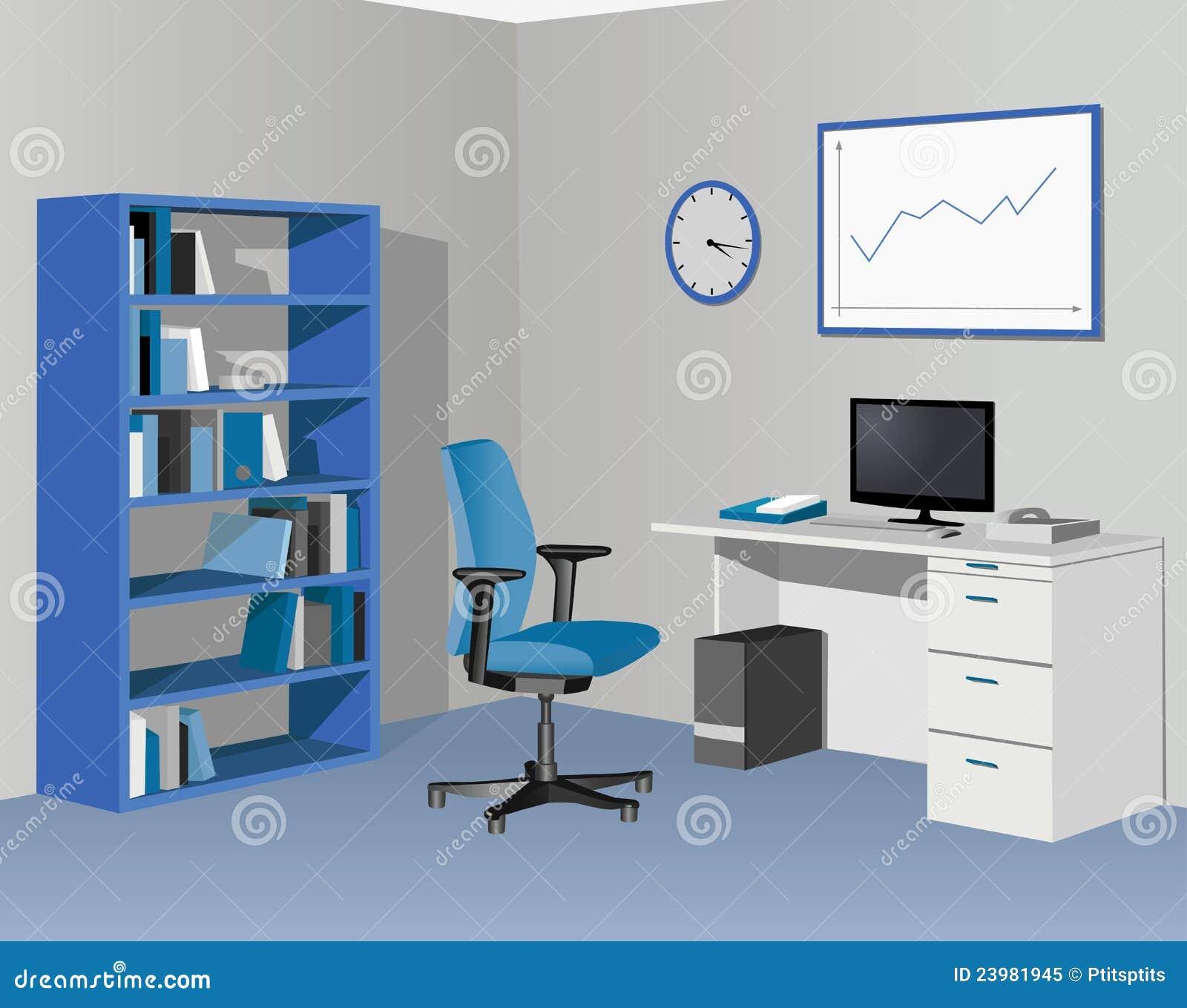 蓝色机柜办公室