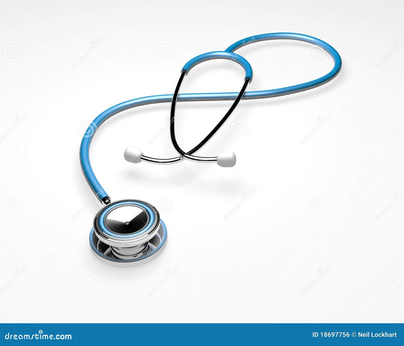 蓝色查出的听诊器