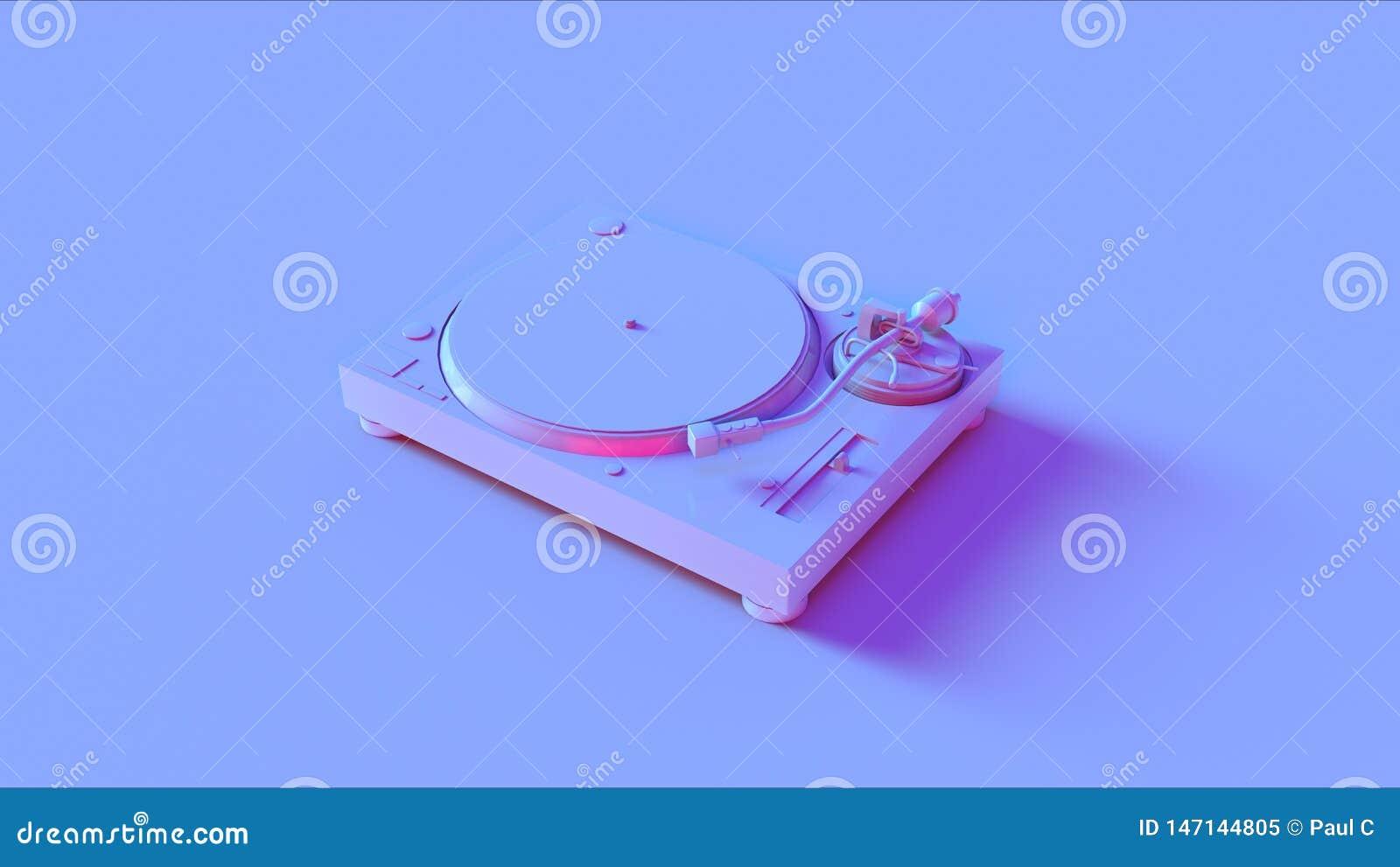 蓝色桃红色转盘电唱机