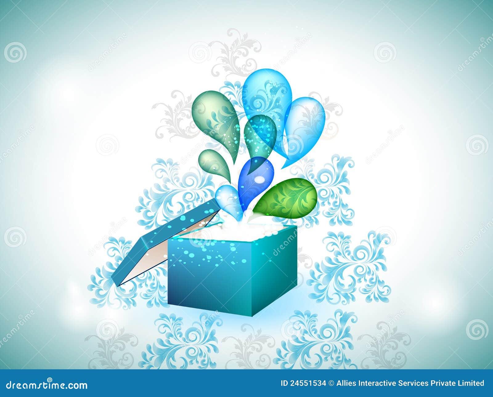 蓝色框展开的礼品漩涡