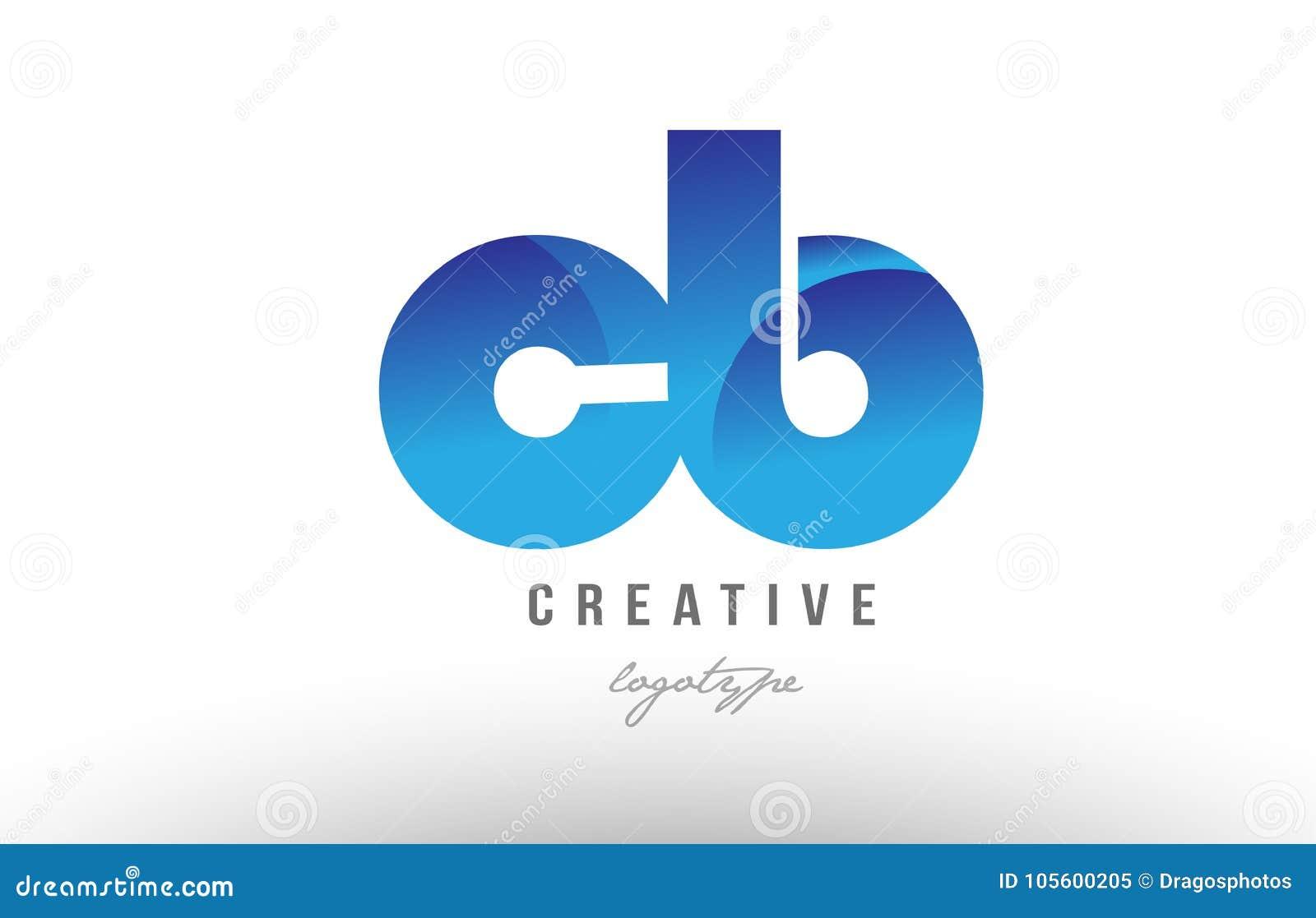 蓝色梯度钶c b字母表信件商标组合象desig
