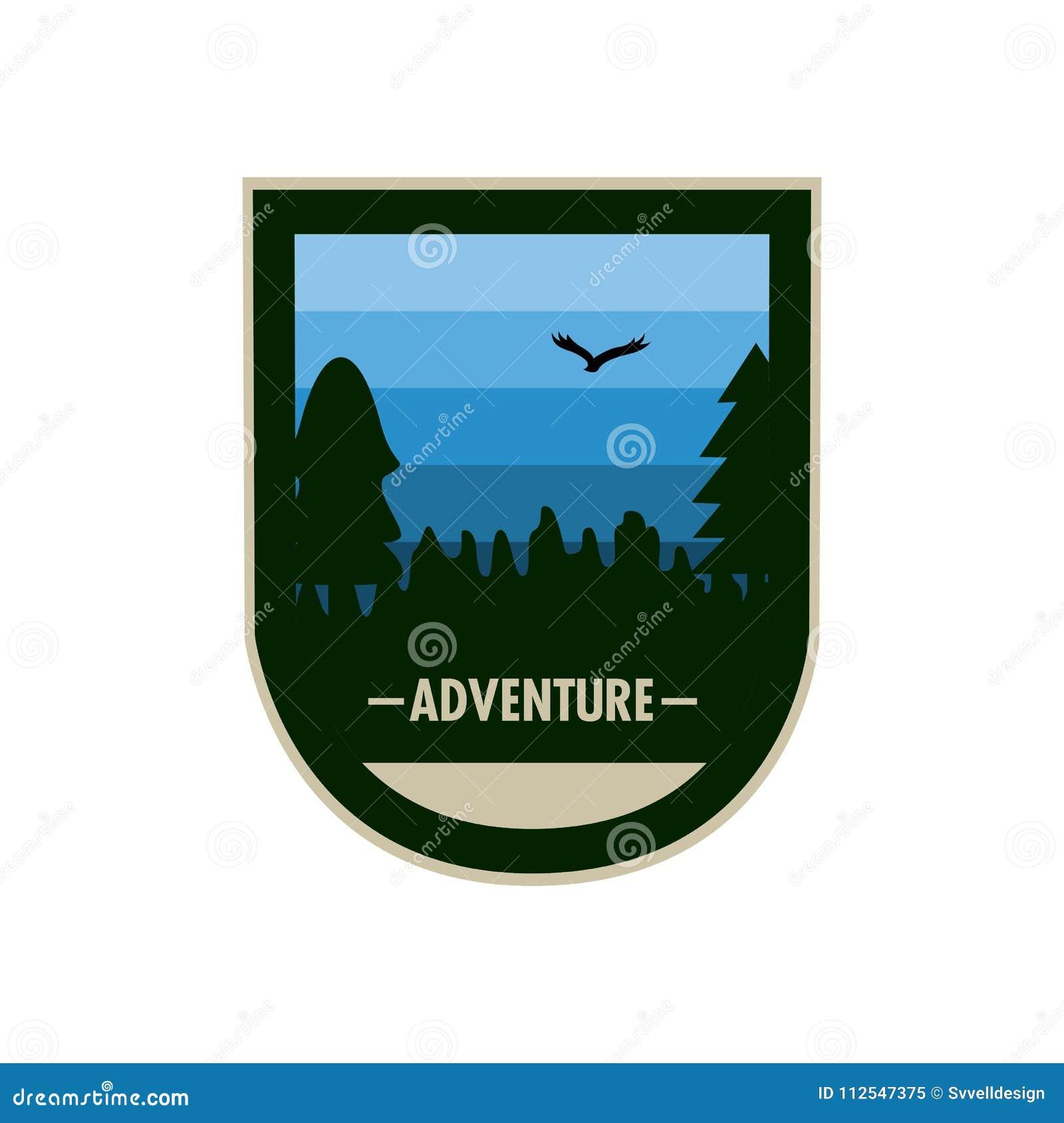 蓝色森林凹面盾冒险徽章设计