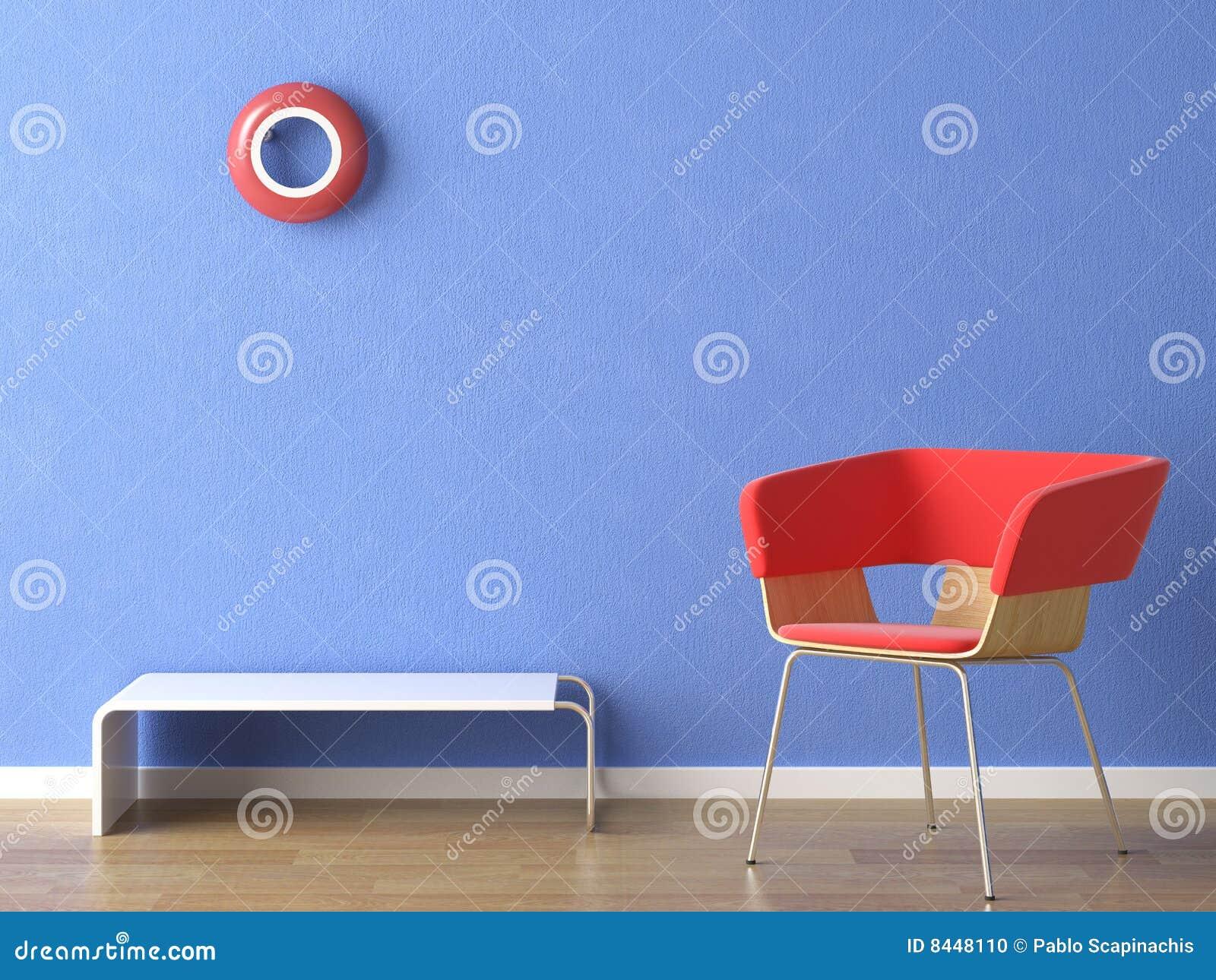 蓝色椅子红色墙壁