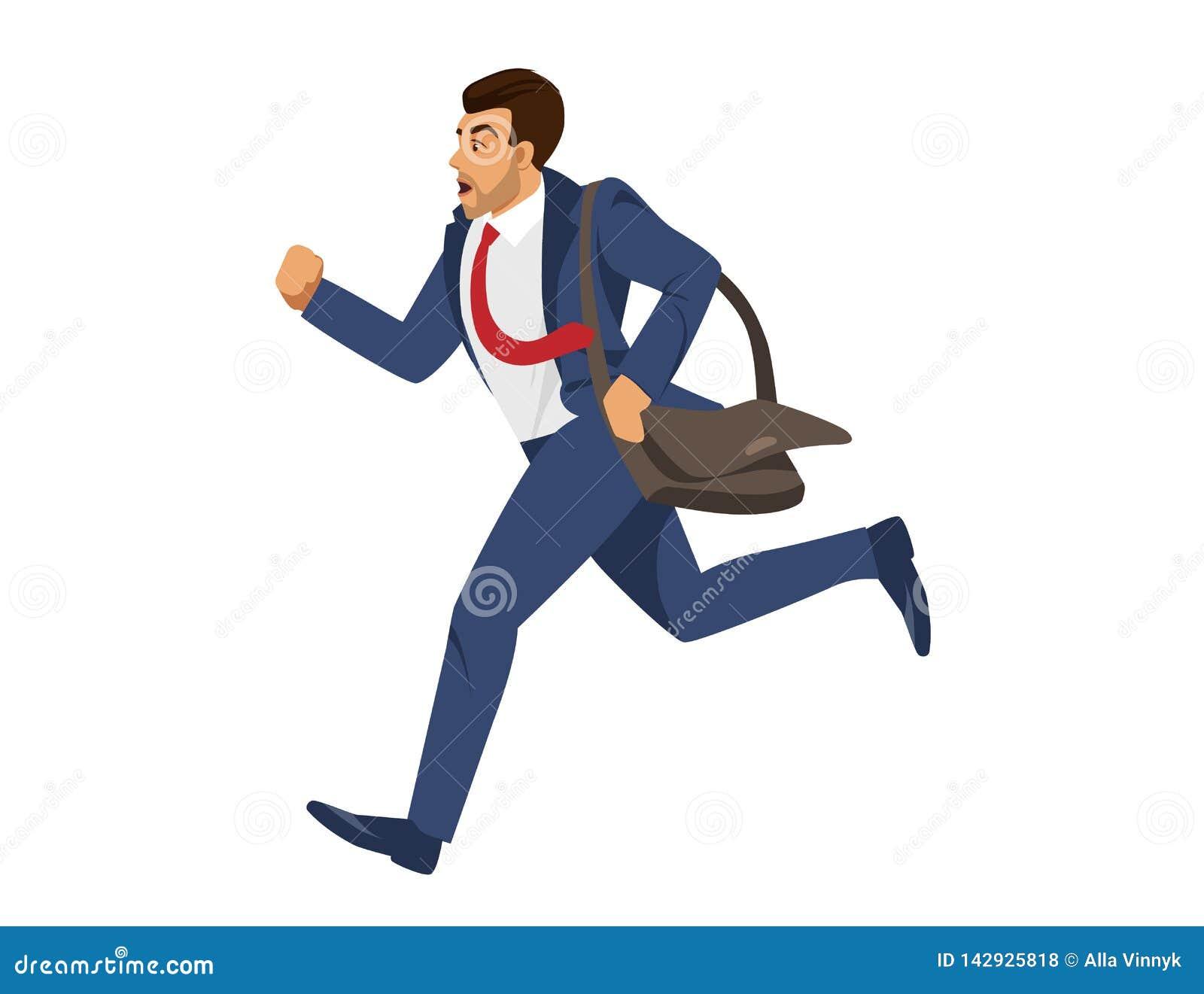 蓝色正装奔跑的人在白色背景