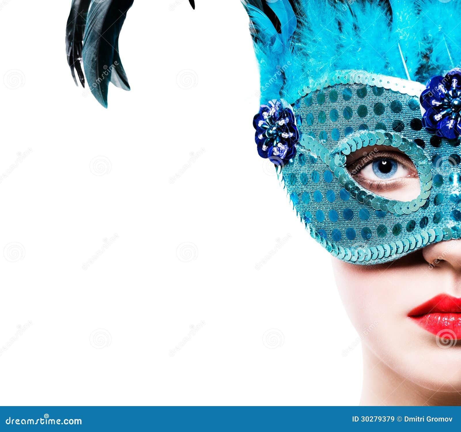 蓝色狂欢节面具的美丽的女孩