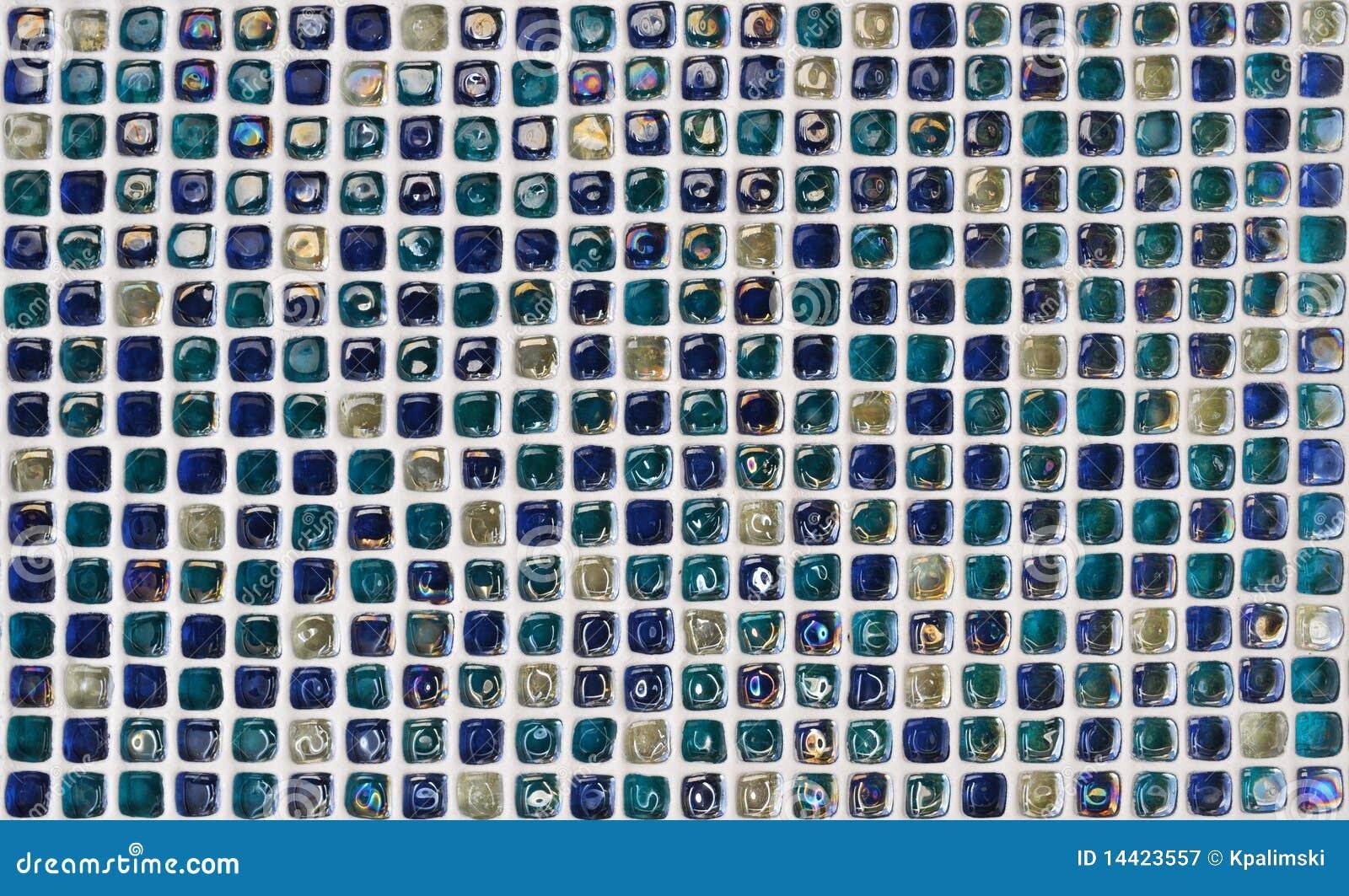 蓝色玻璃纹理瓦片墙壁