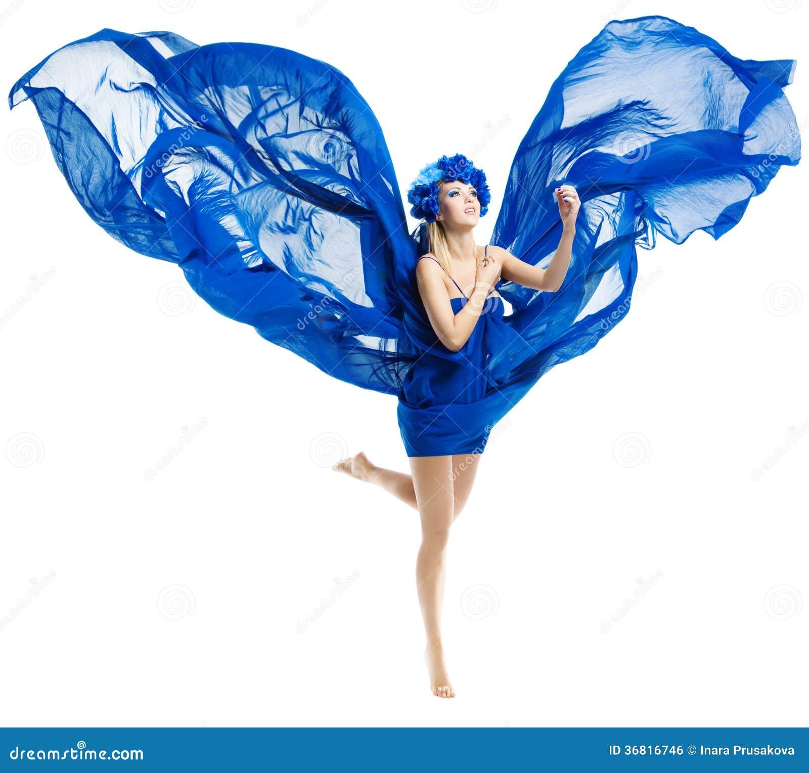 蓝色礼服的妇女飞过,挥动振翼的织品