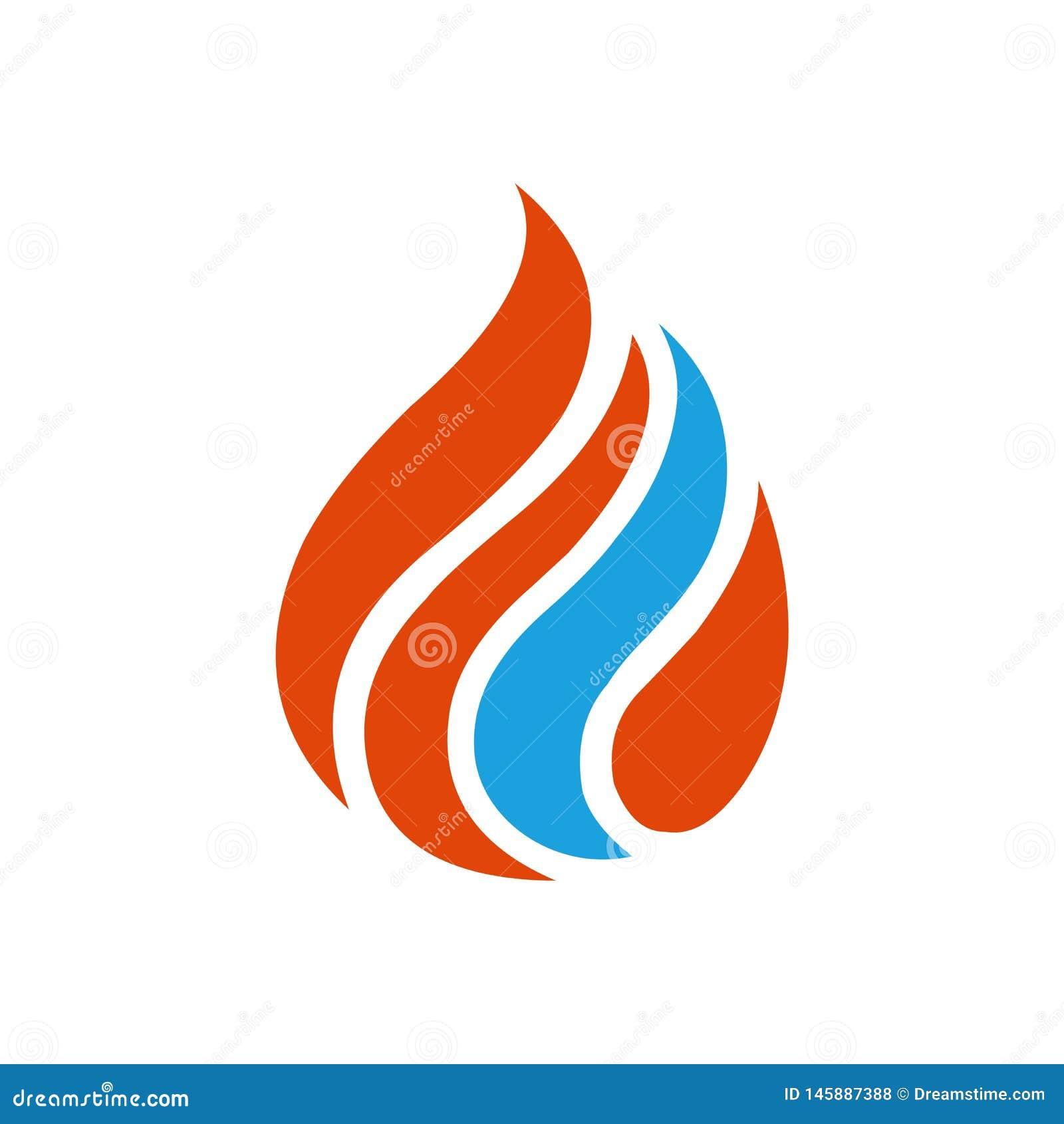 蓝色红色火焰商标