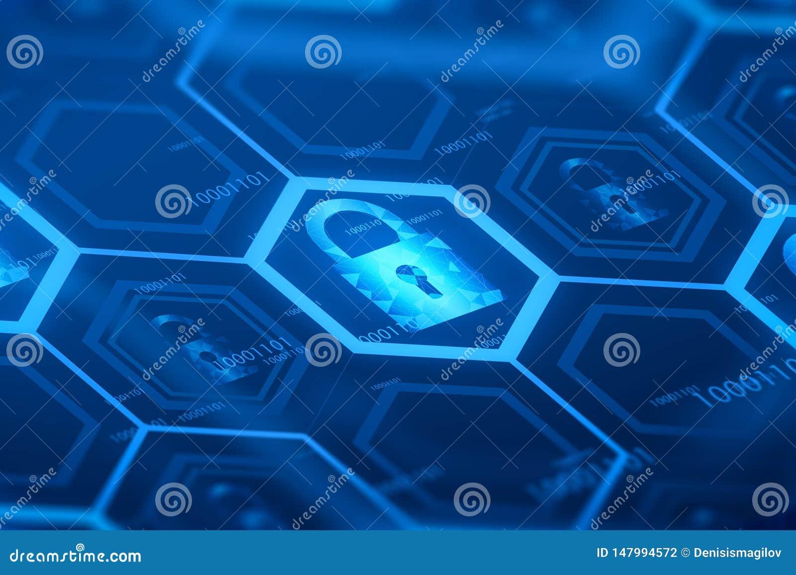 蓝色网上安全数字按钮
