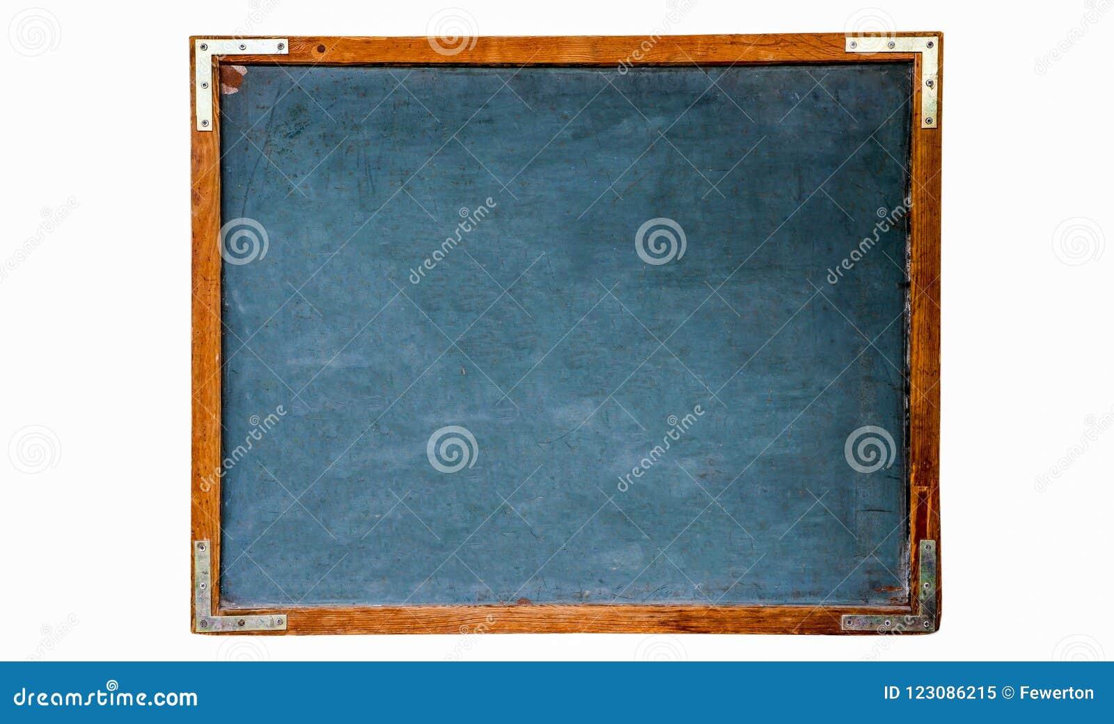 蓝色老脏的葡萄酒木空的学校黑板或减速火箭的黑板有被风化的框架白色背景